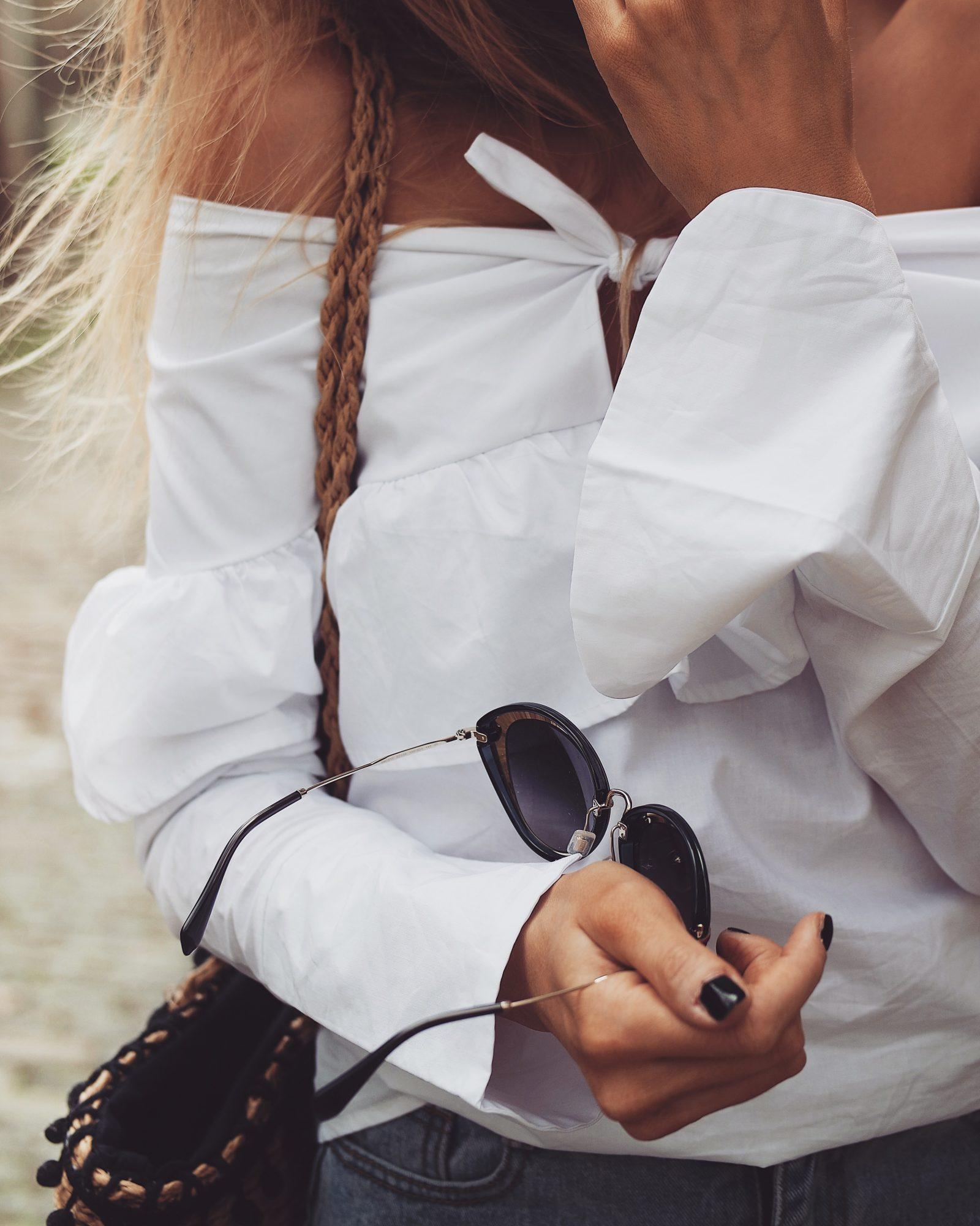Love Sheinside - White Ruffle Off Shoulder Top