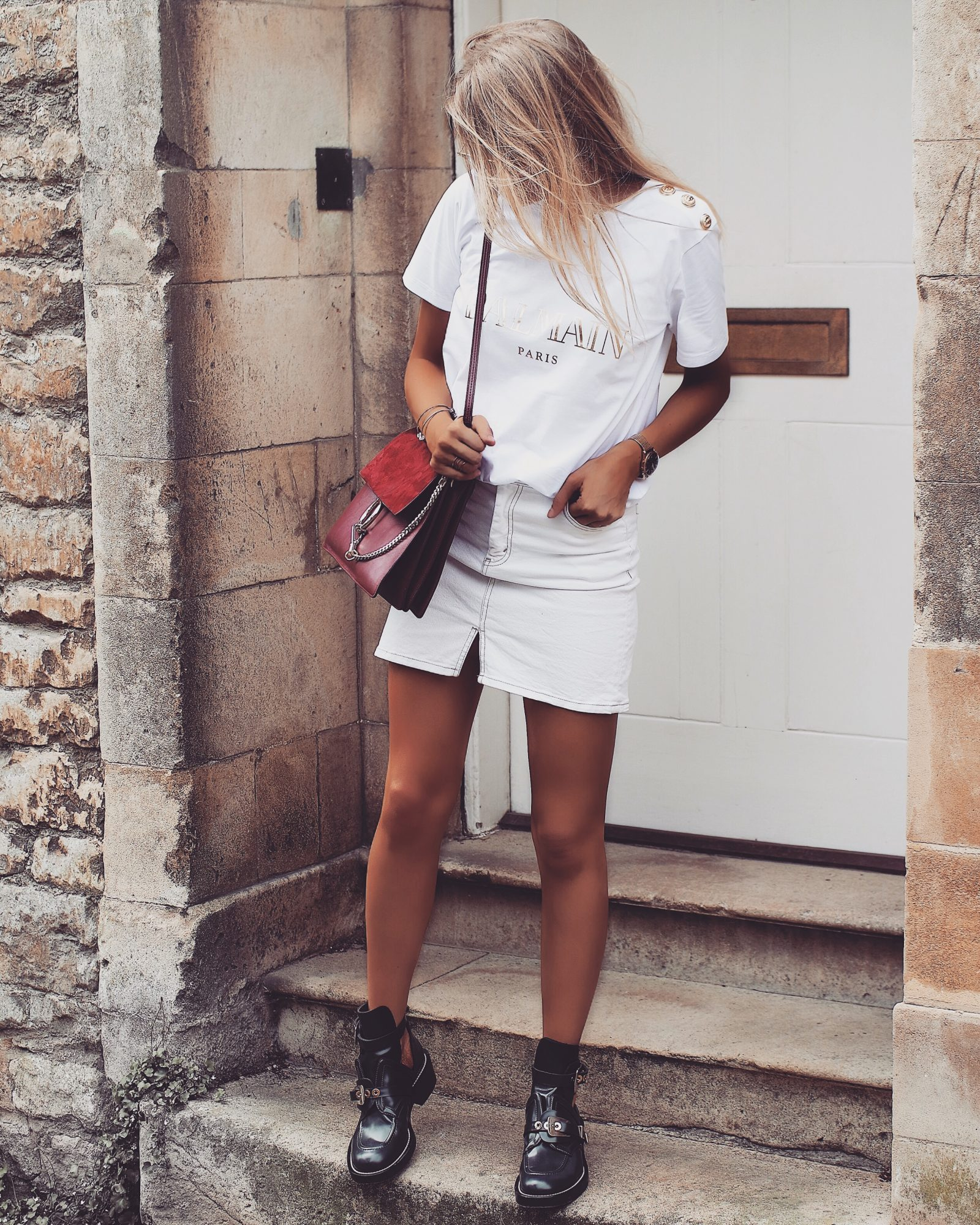 The Designer Slogan Tee - All White Outfit