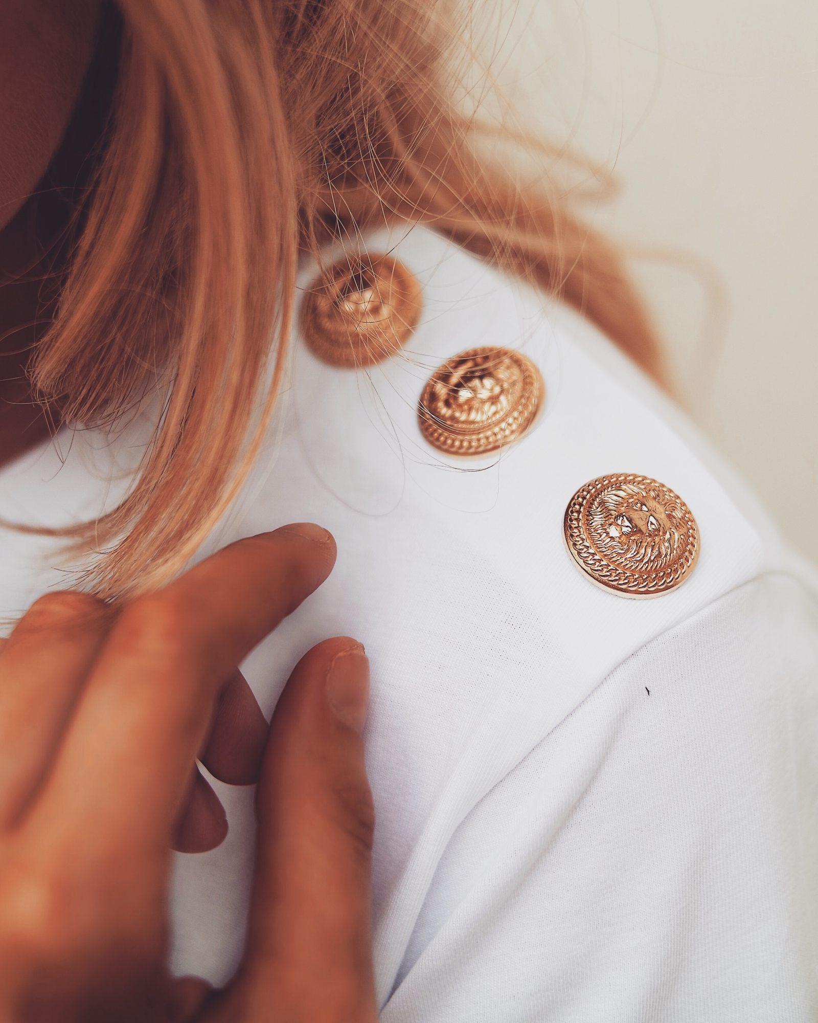 The Designer Slogan Tee - Balmain Gold Button Tee
