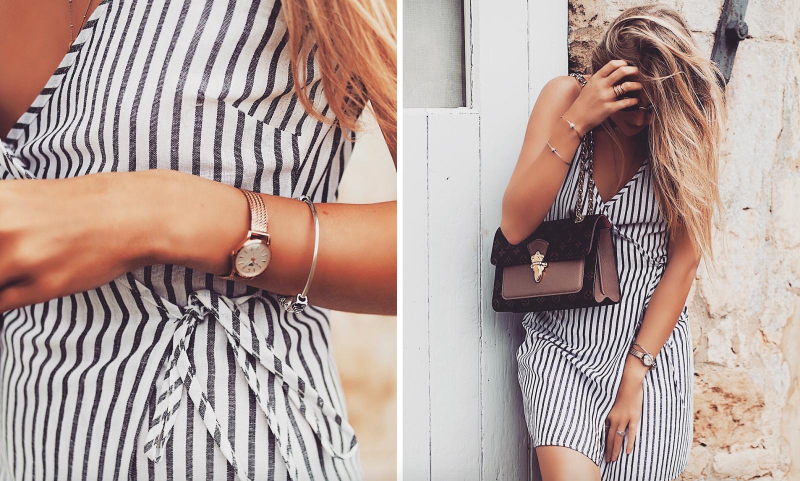 The Wrap Dress - Fashion Linen Striped Dress