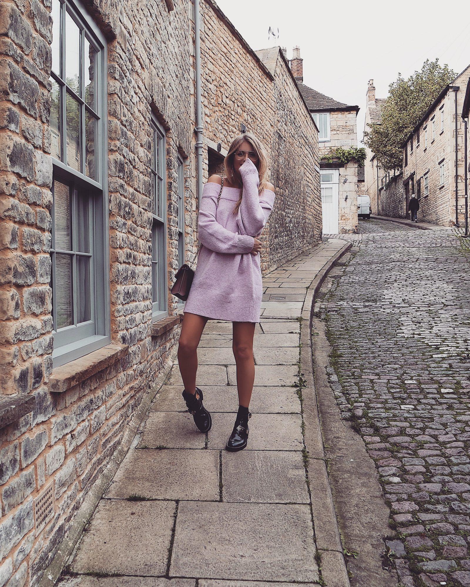 Pink Jumper Dress - Street Style