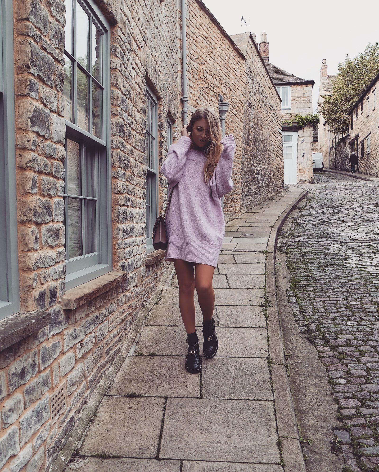 Pink Knitted Jumper Dress