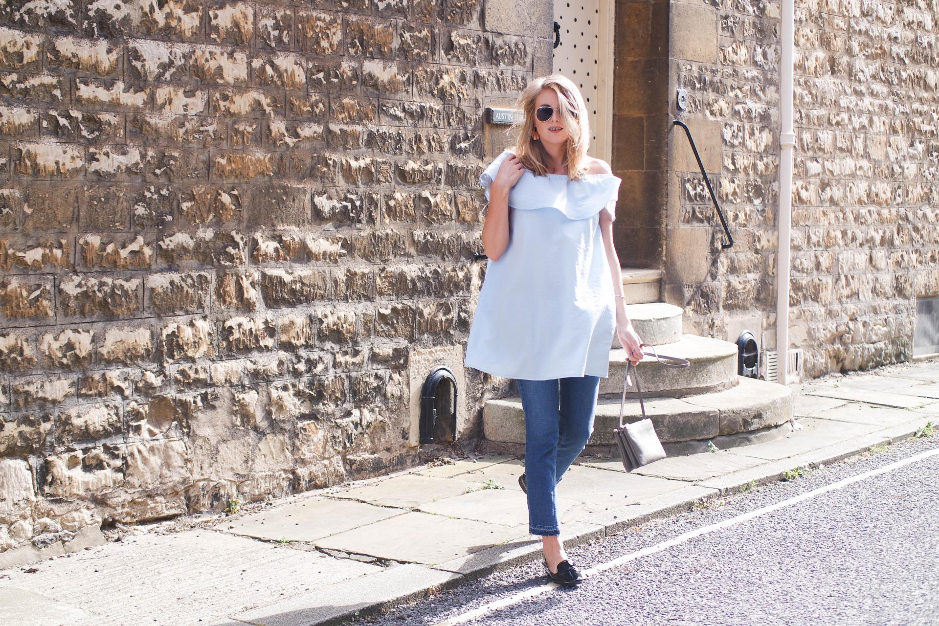 British Summer Cold Shoulder Dress