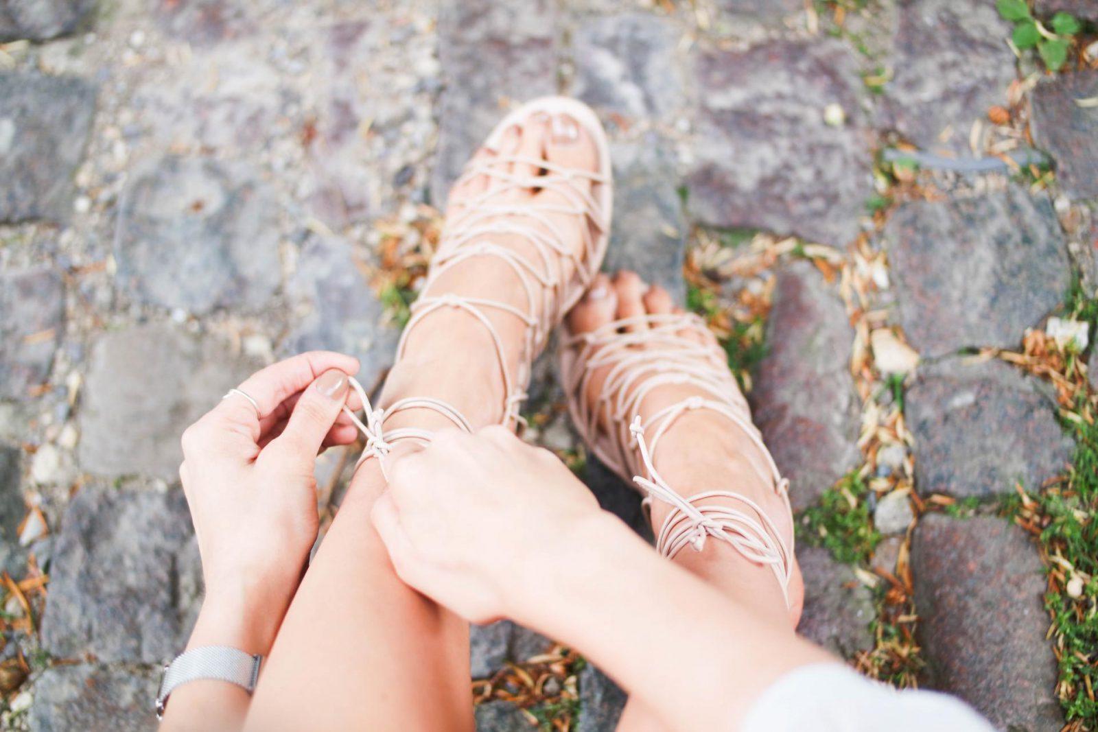 Peasant Blouse Lace Up Sandals