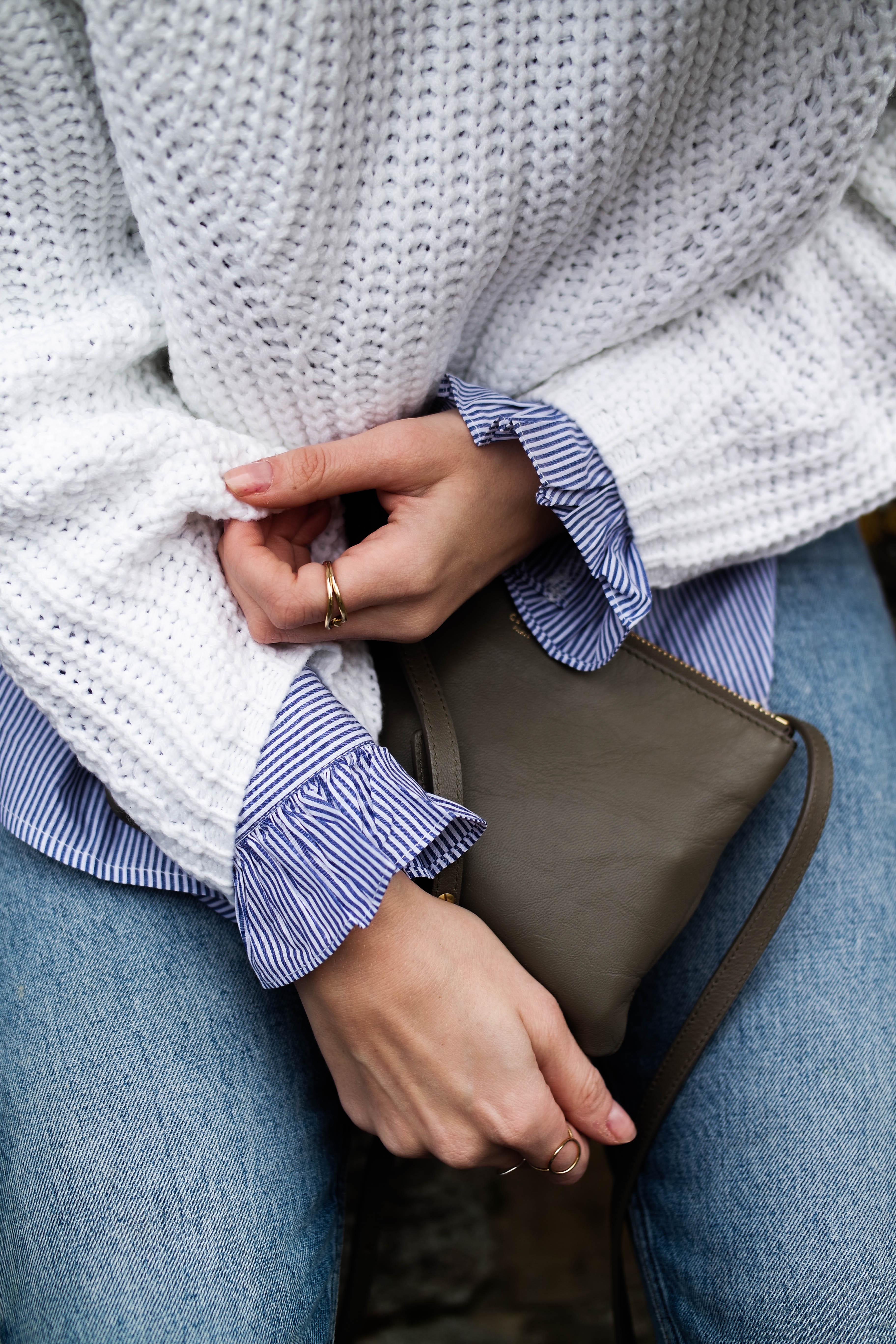 Layering Your Knitwear - Sheinside Knit - Ruffle Sleeve Shirt