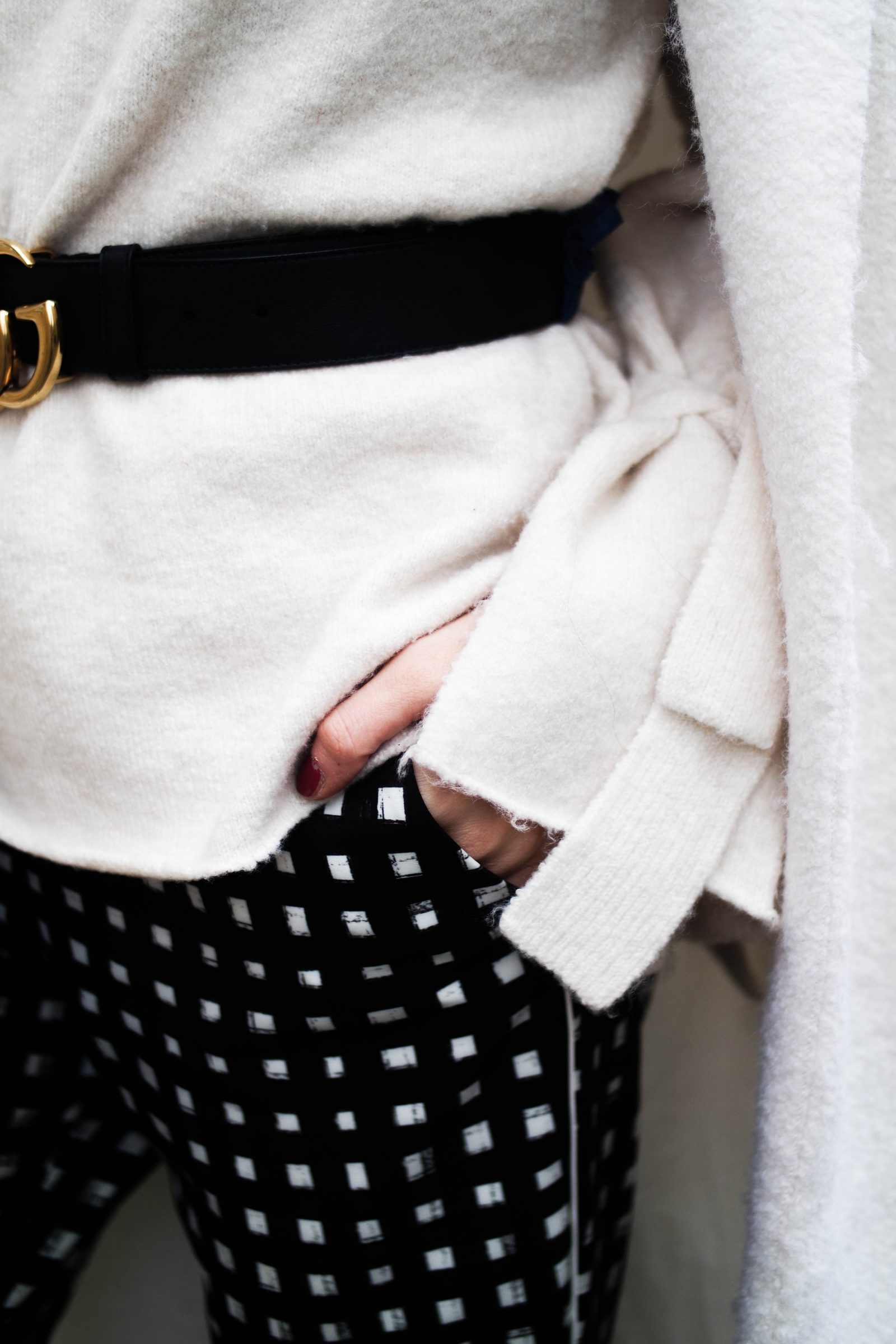 Printed Trousers Trying Something New - Bow Sleeve Knit
