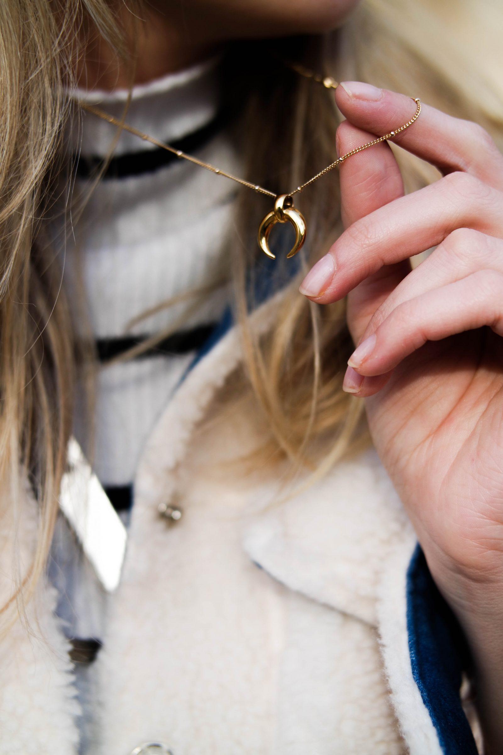 Teddy Bear Coat Missoma Horn Necklace