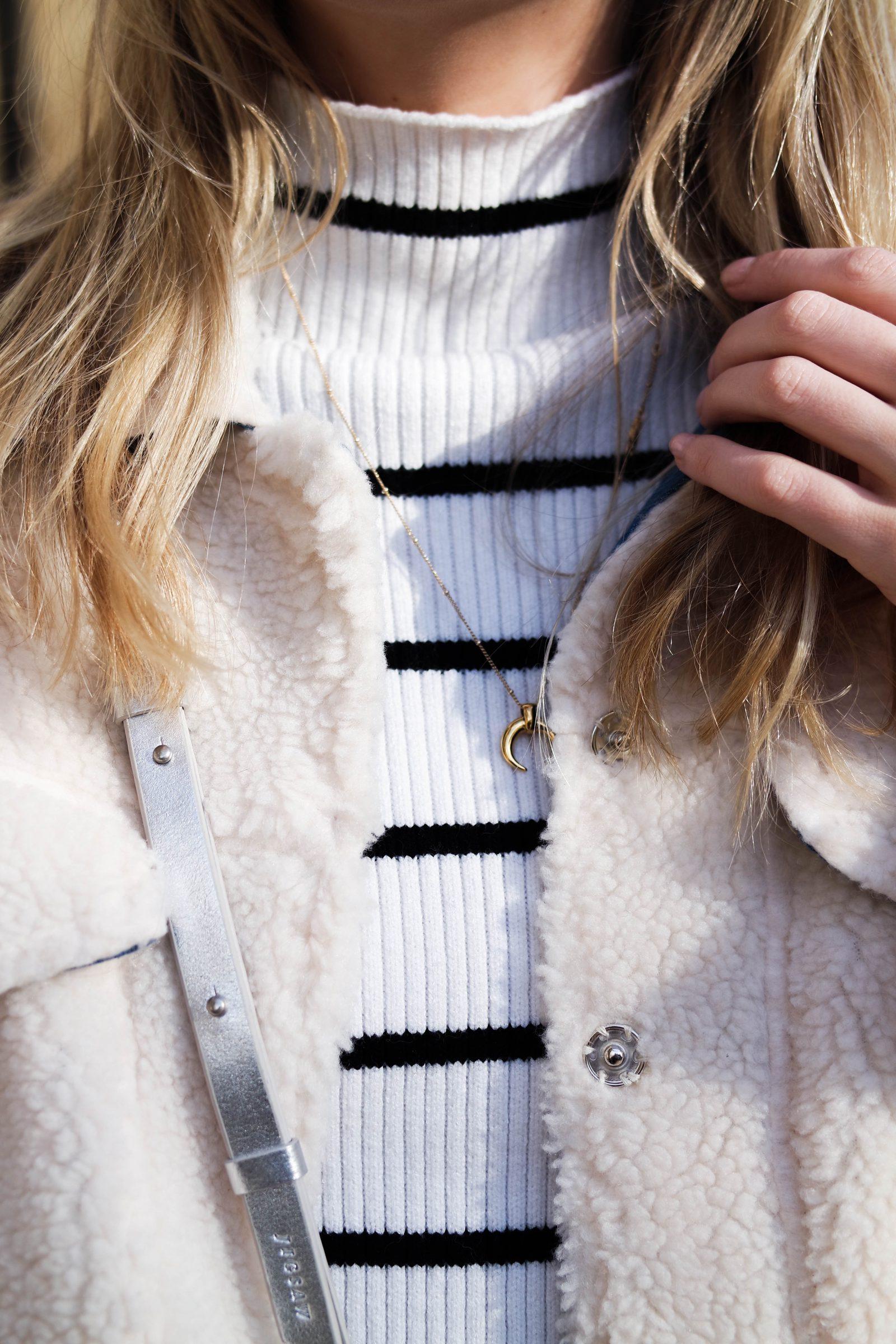 Teddy Bear Coat Striped Knit