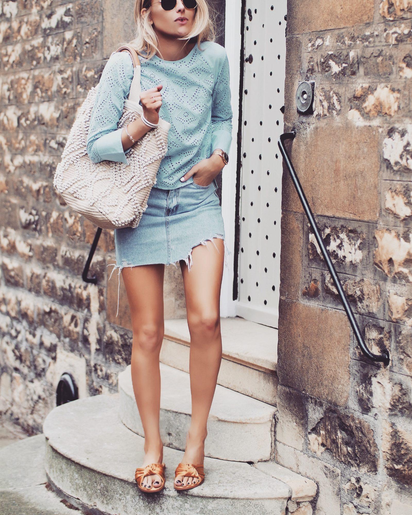 Basket Bag - Blue Crochet Top
