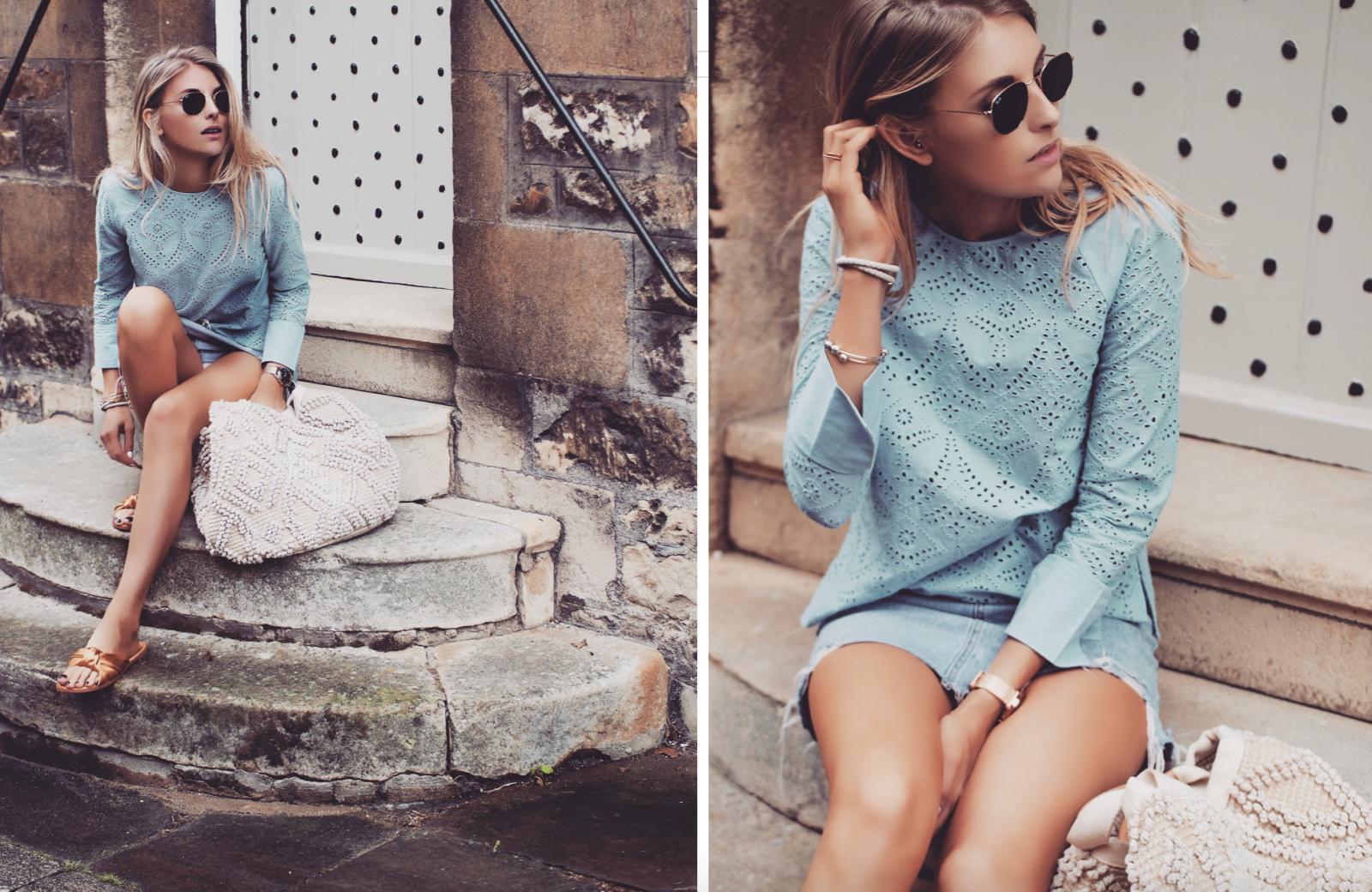 Basket Bag - Fashion Blogger Blue Outfit Post