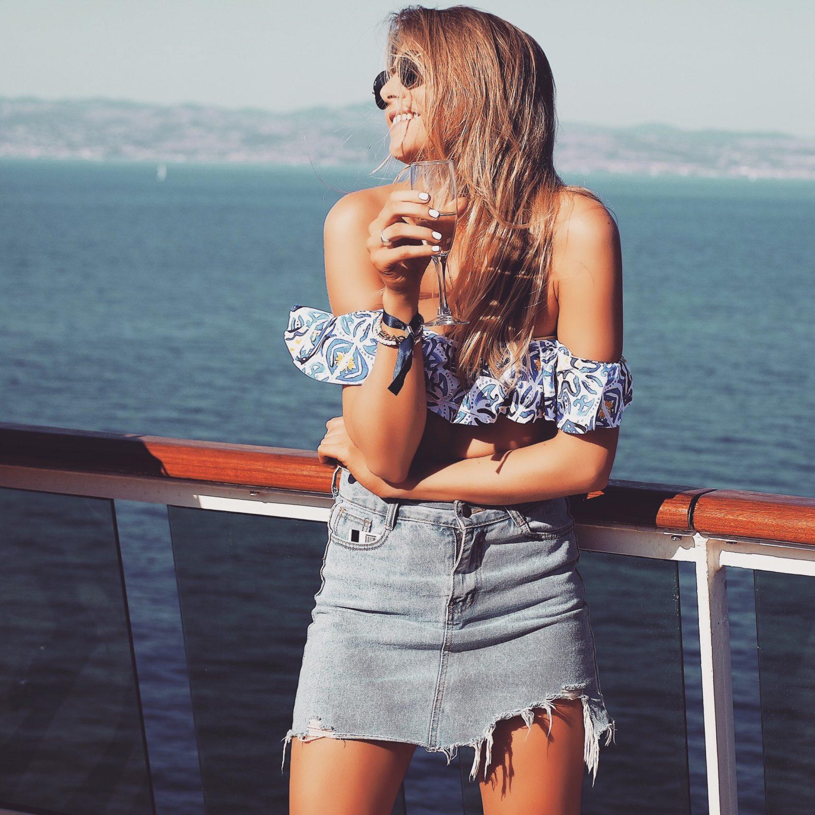 Holiday Lookbook Distressed Denim Skirt