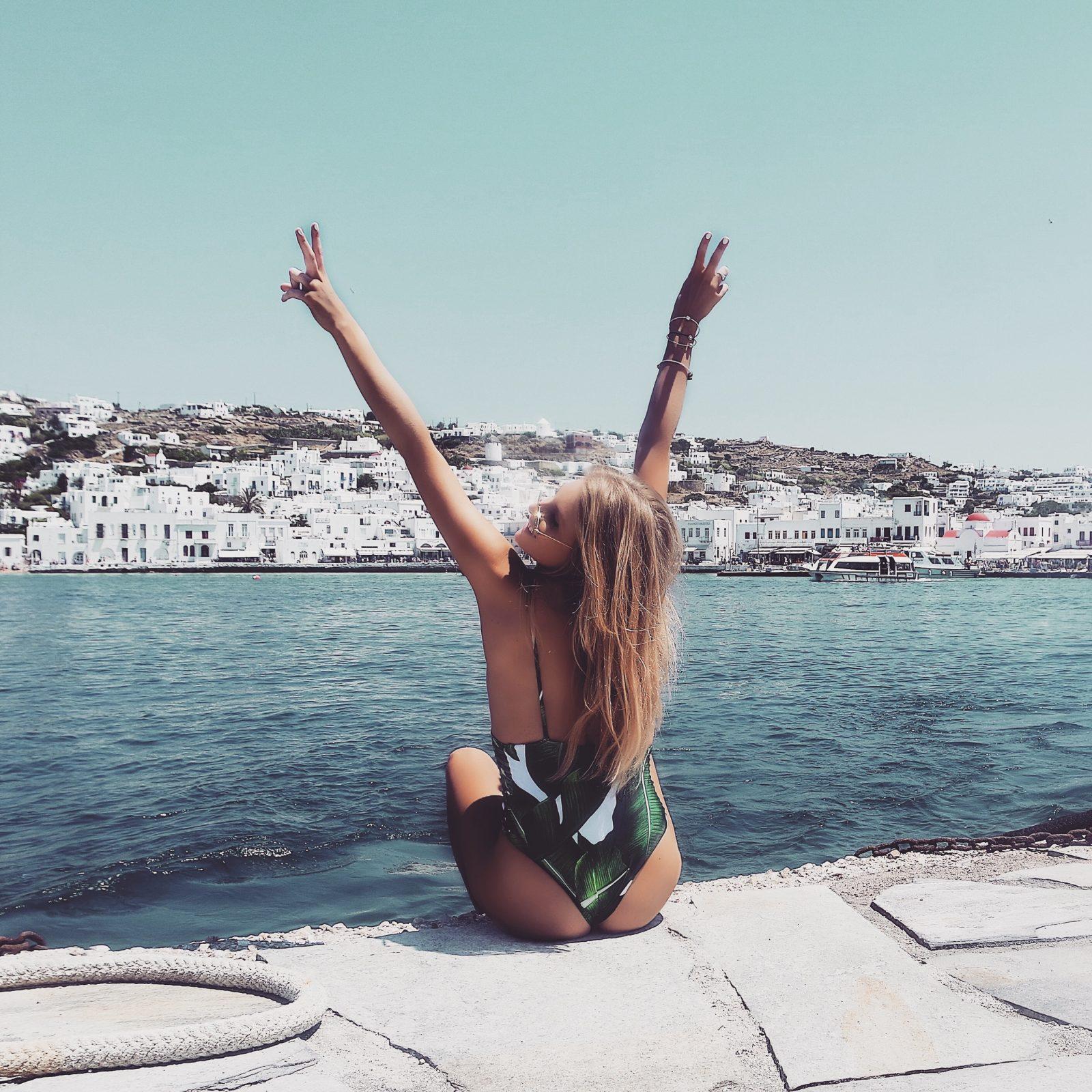 Holiday Lookbook - Mykonos - Palm Print Swimsuit