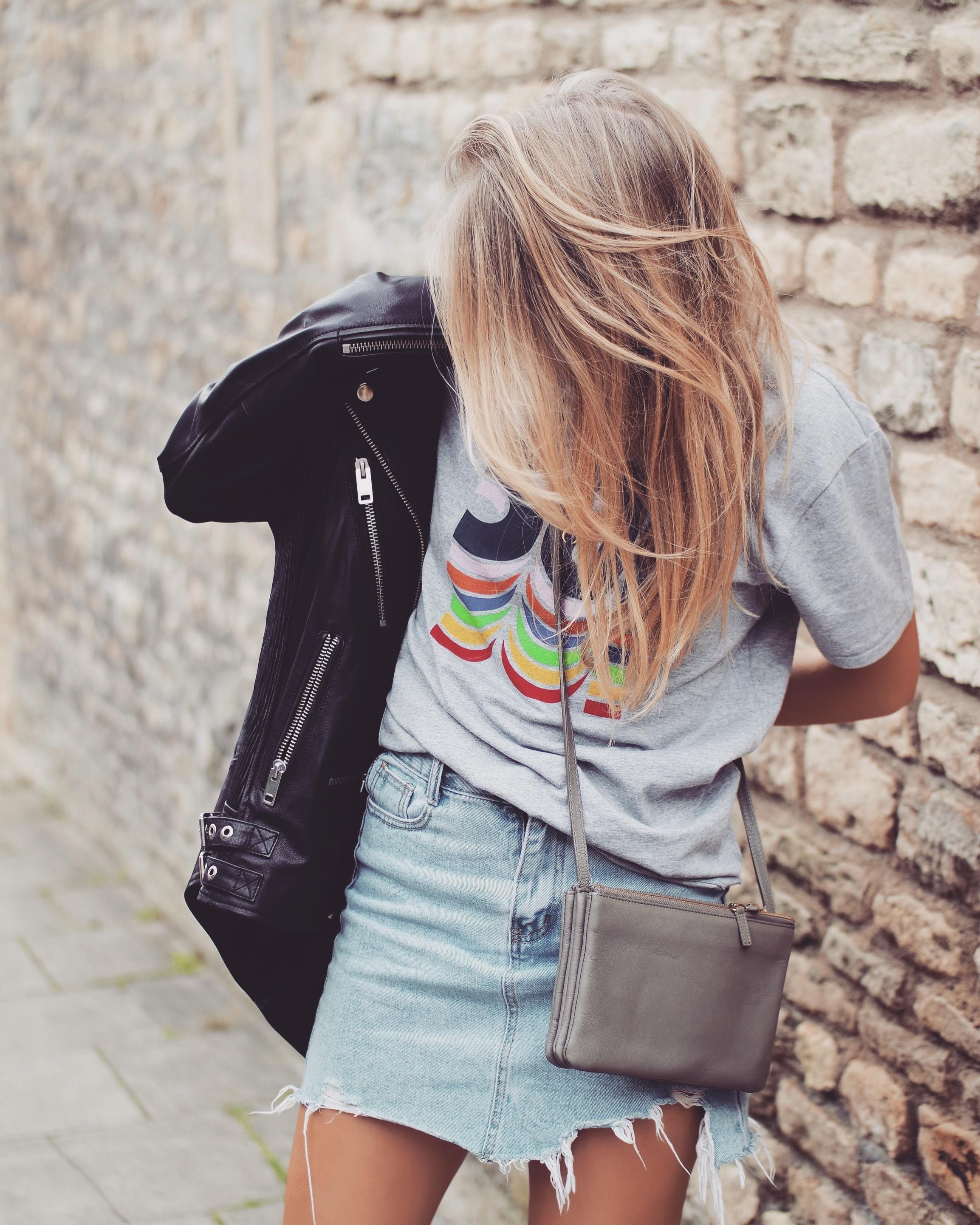 Leather Jacket - Vintage Denim Skirt