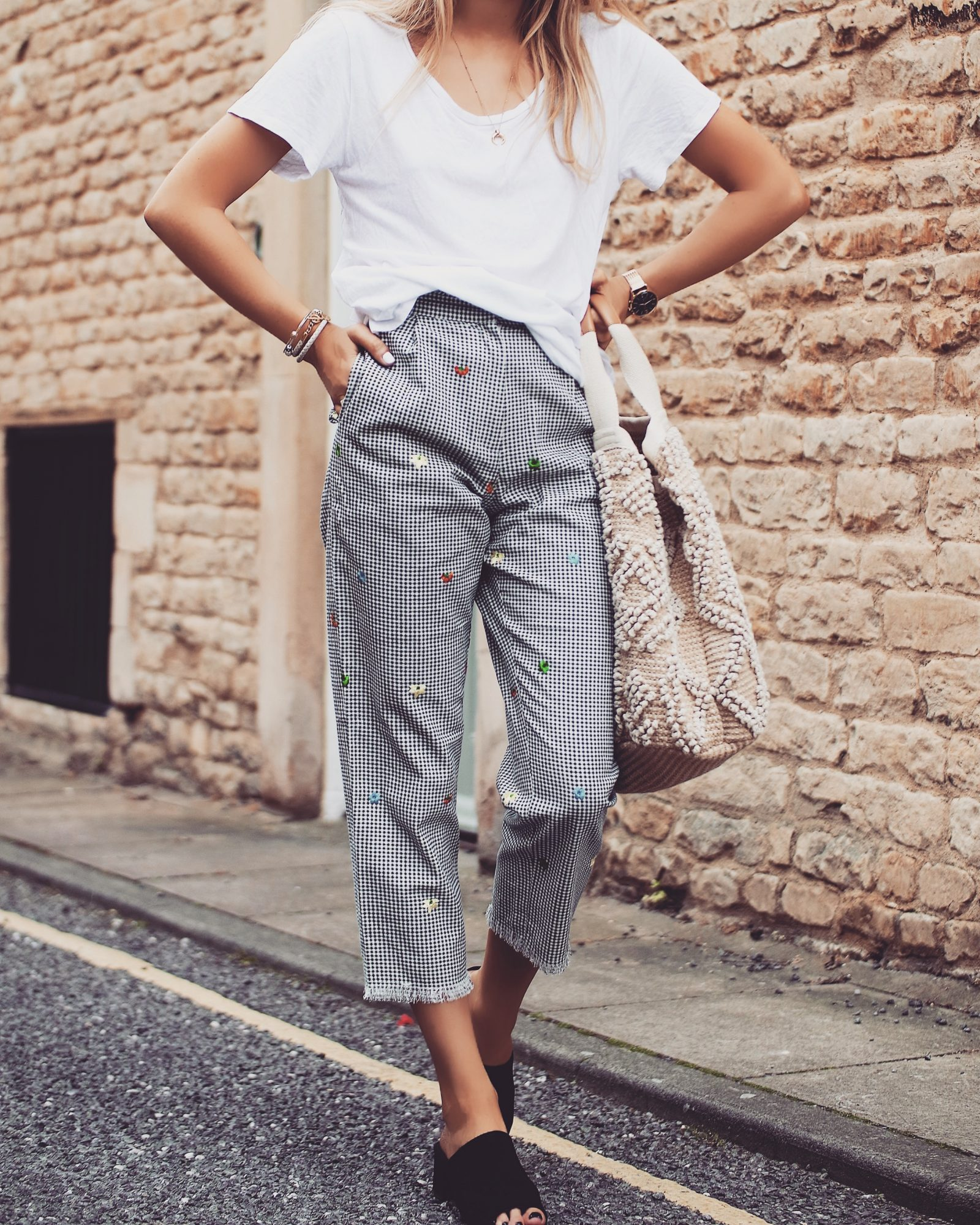 Topshop Gingham Trousers - Non Denim Bottoms
