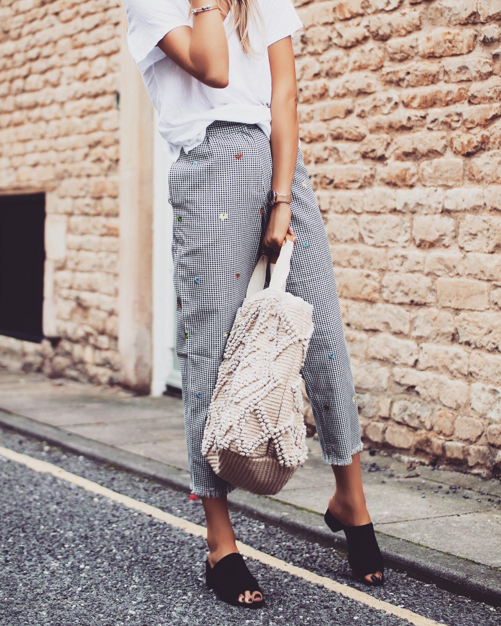 Topshop Gingham Trousers - Non Denim Bottoms - Basket Bag
