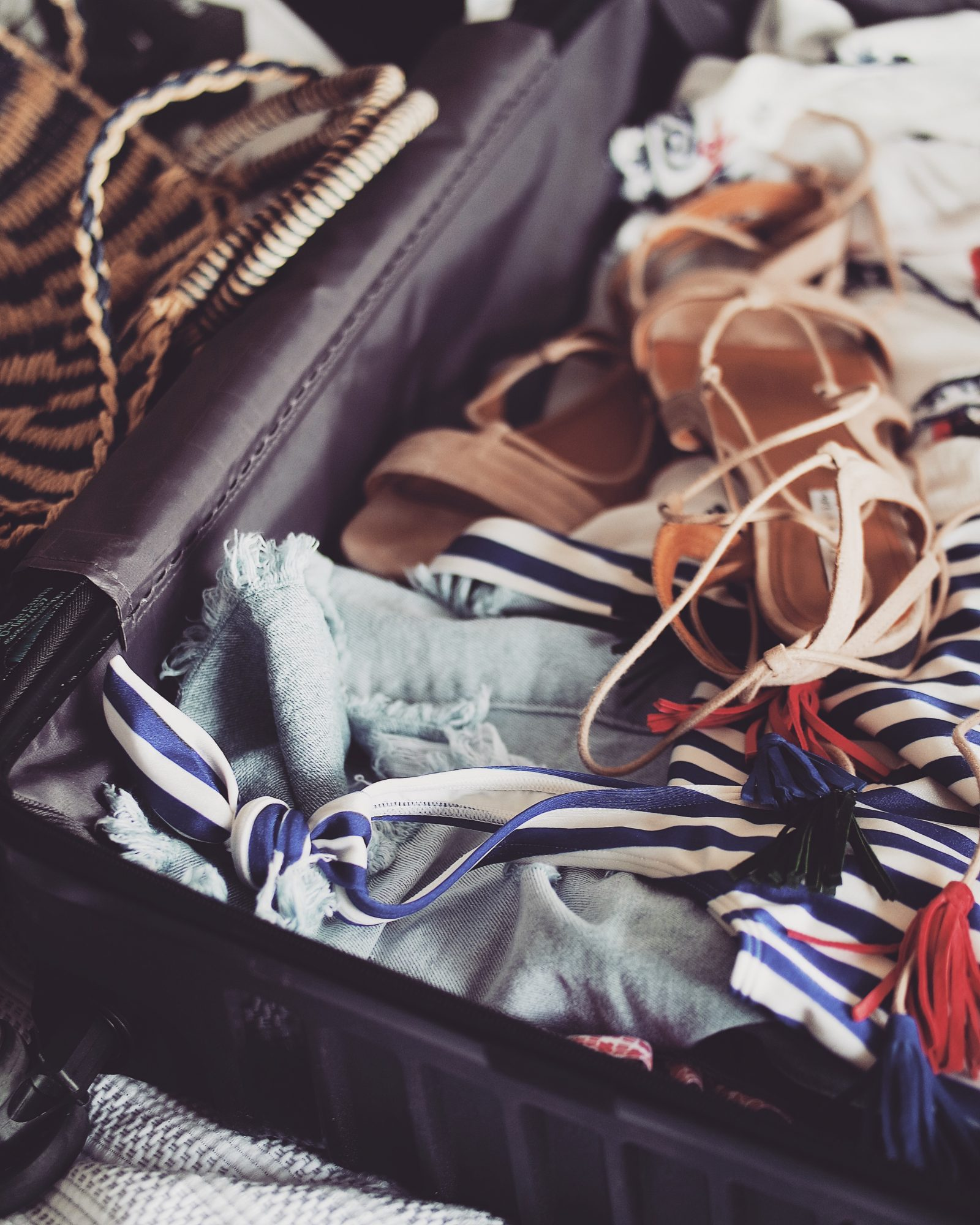 Holiday Packing List - Tassel Lace Up Sandals In Suitcase