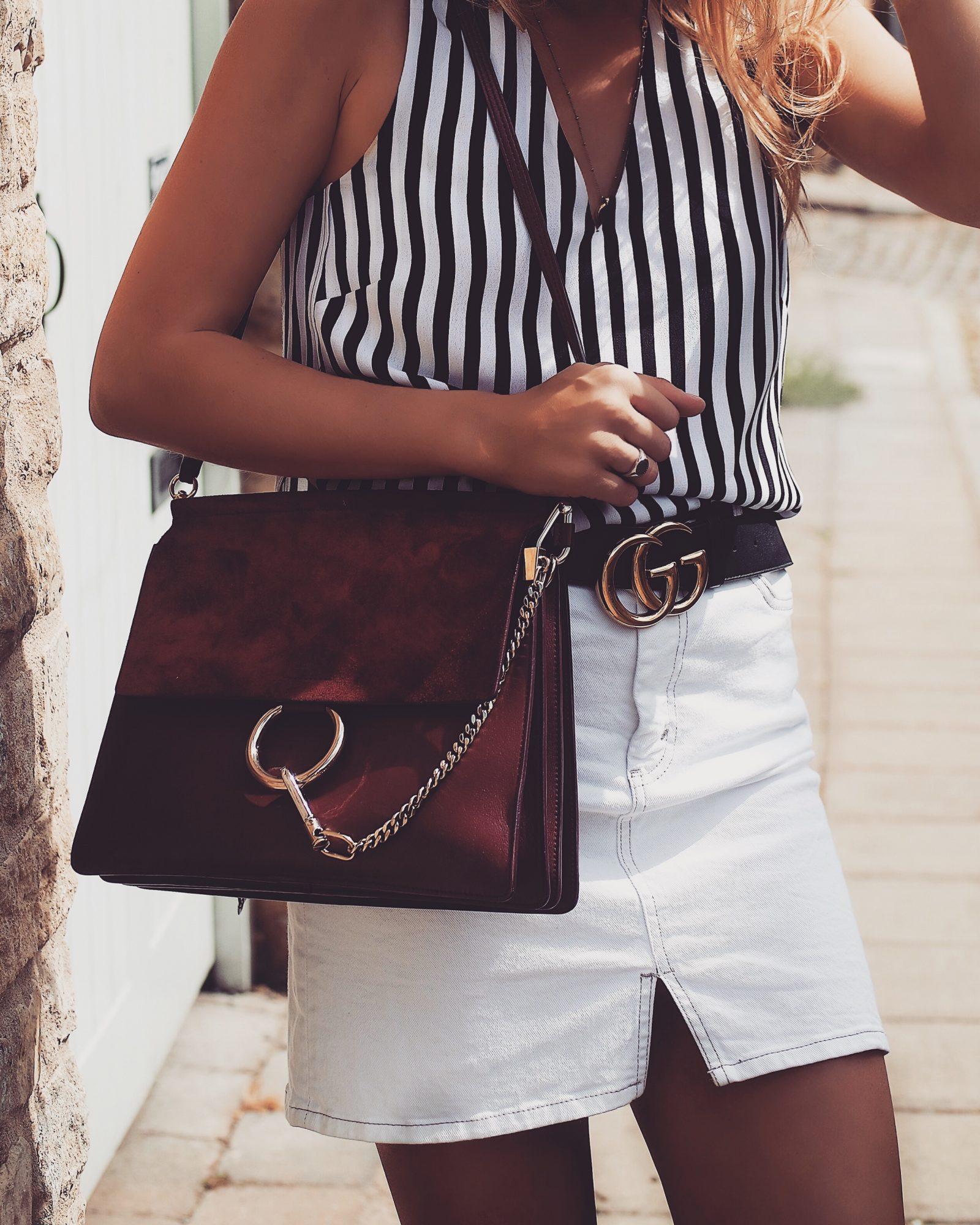 Monochrome Summer Outfit - Chloe Faye Medium Burgundy