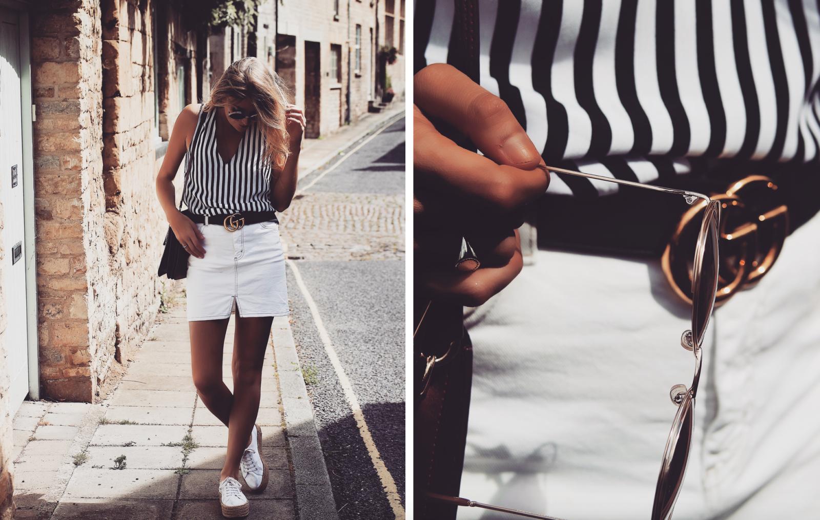 Monochrome Summer Outfit Gucci Statement Gold Belt