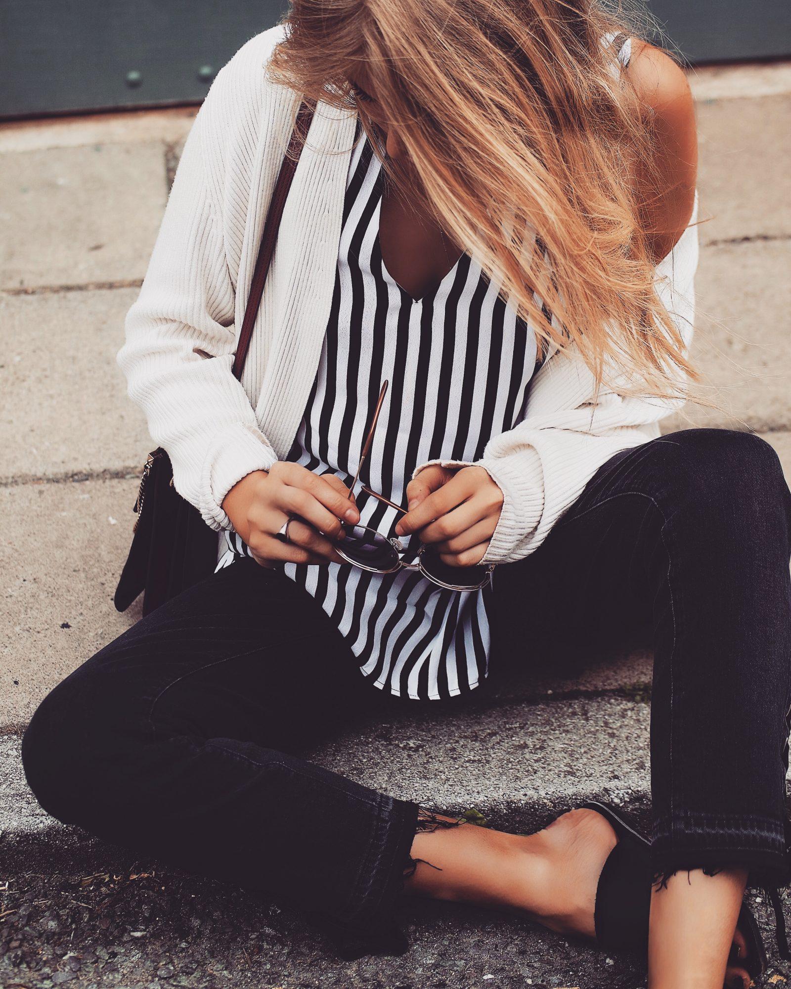 Monochrome Summer Outfit - Monochrome Striped Cami