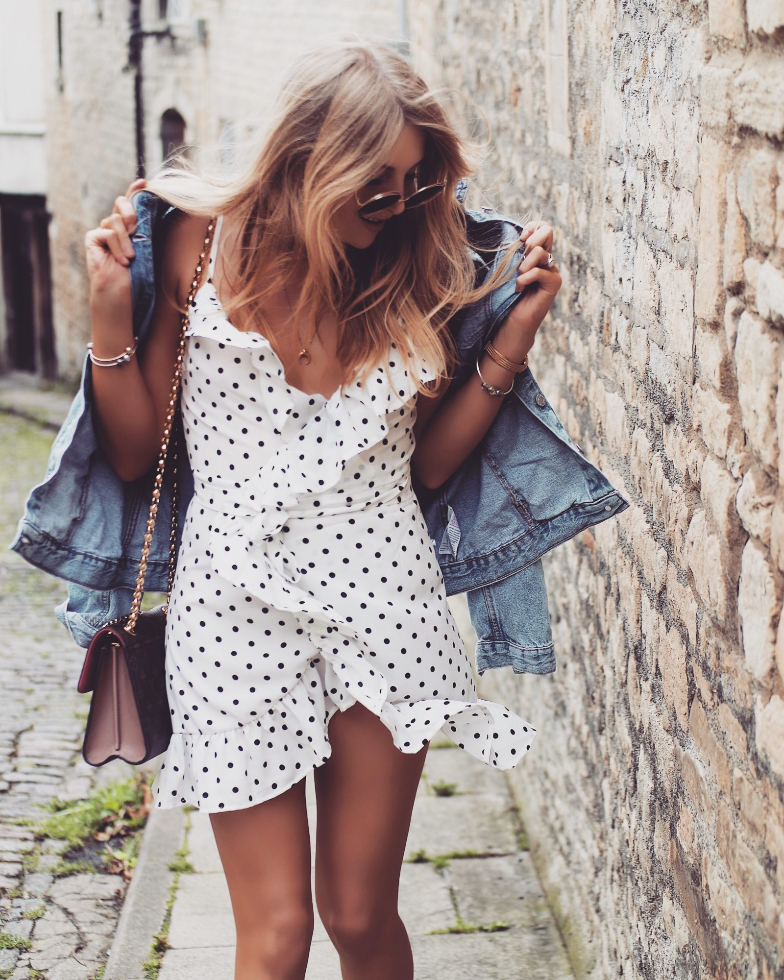 The Wrap Dress - Spotted Ruffle Dress - Fashion Blogger Street Style
