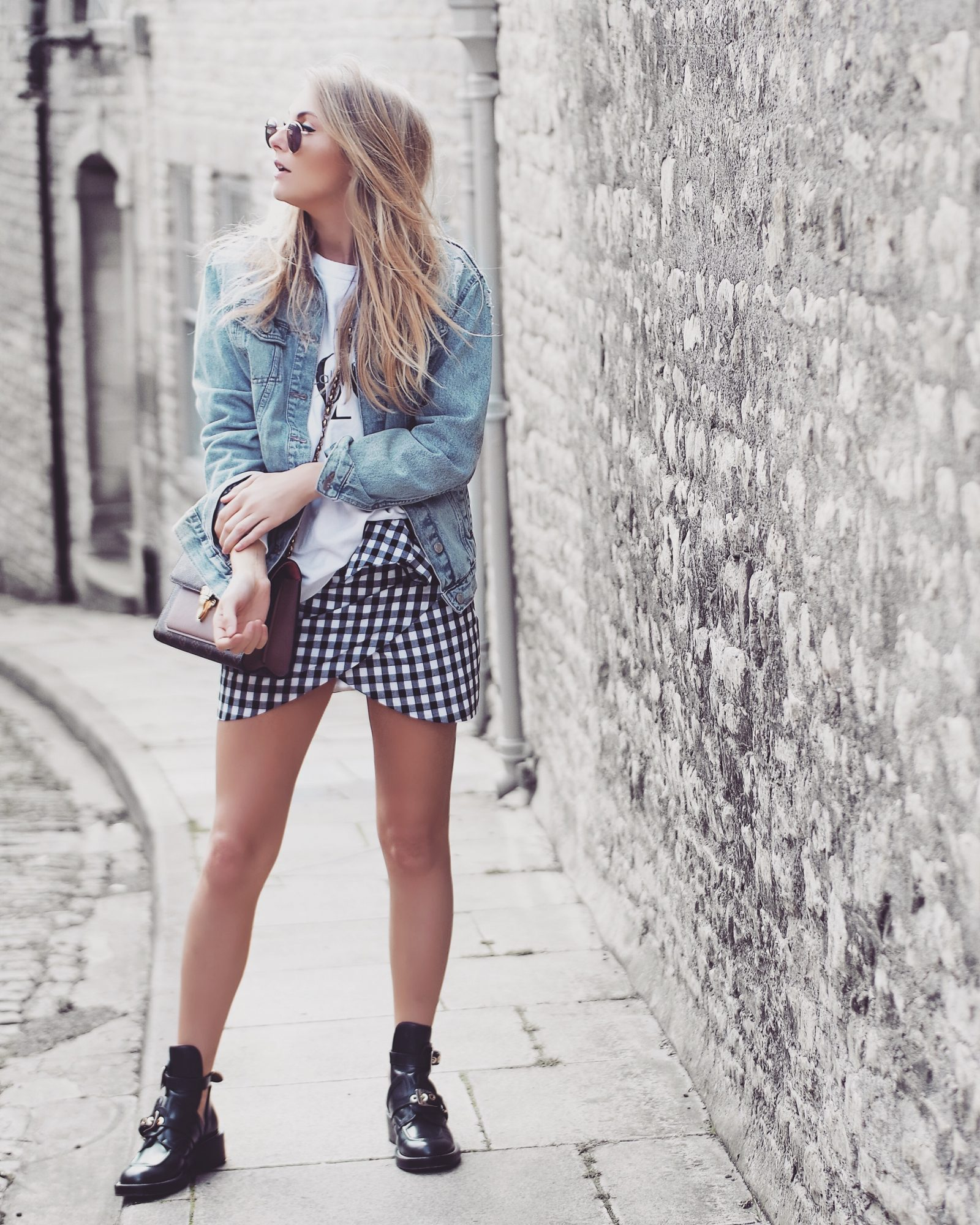 Gingham Skirt Street Style