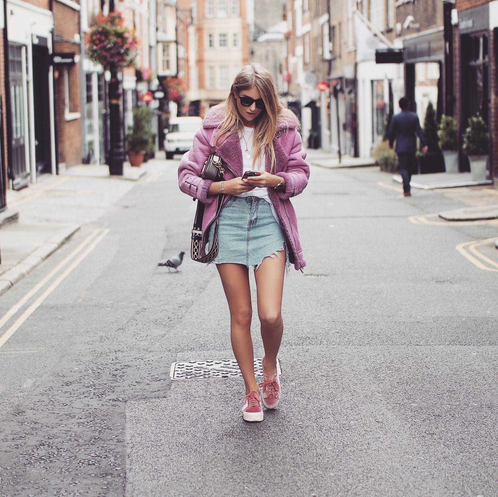 LFW Outfit - Pink Aviator Jacket