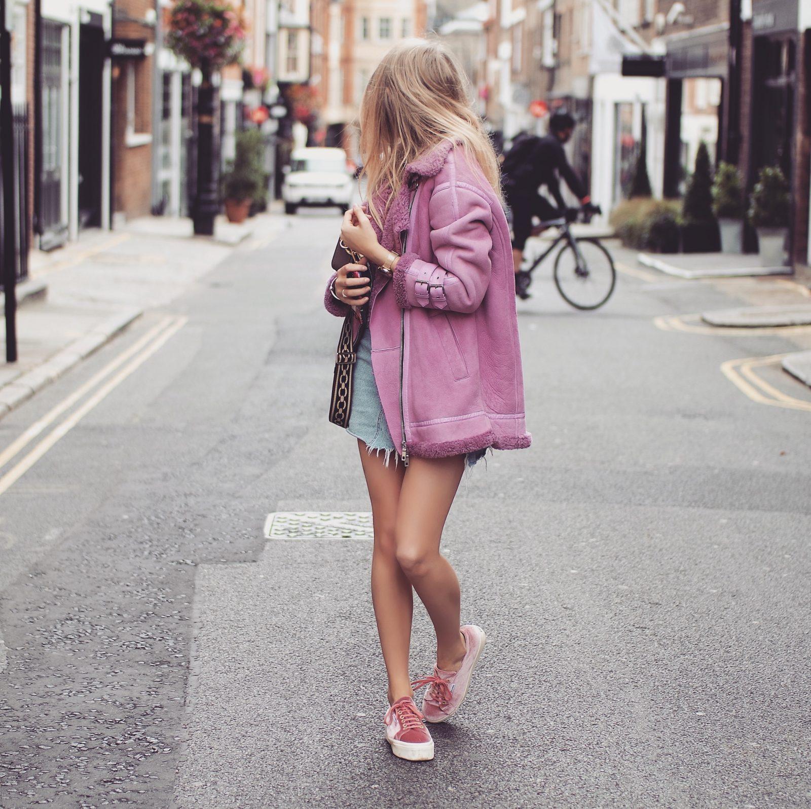 LFW Outfit - Pinko Pink Aviator Jacket - Fashion Blogger Sinead Crowe