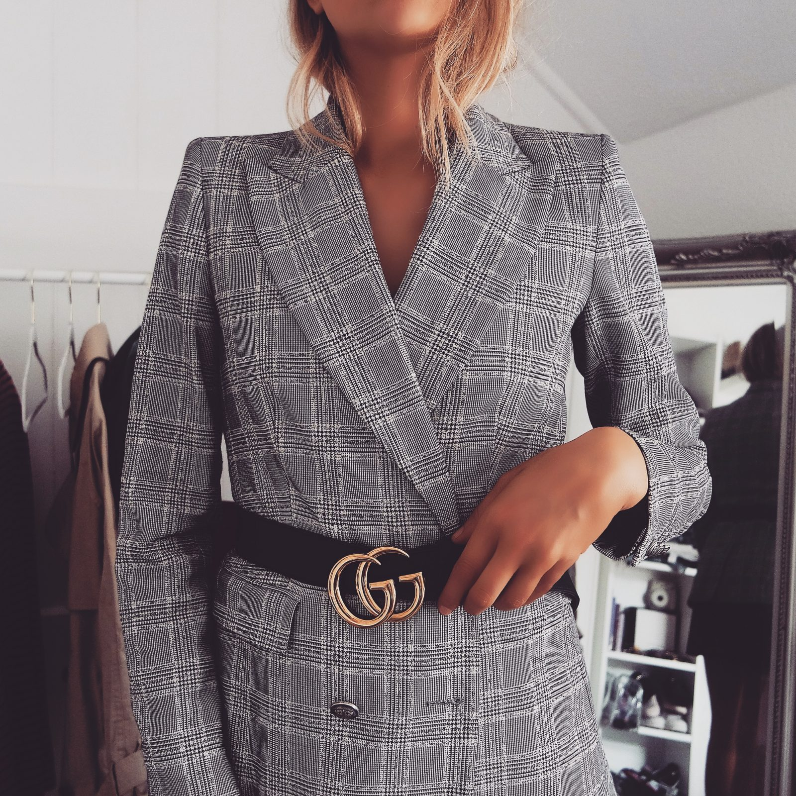 The Gucci Belt - Zara Check Blazer
