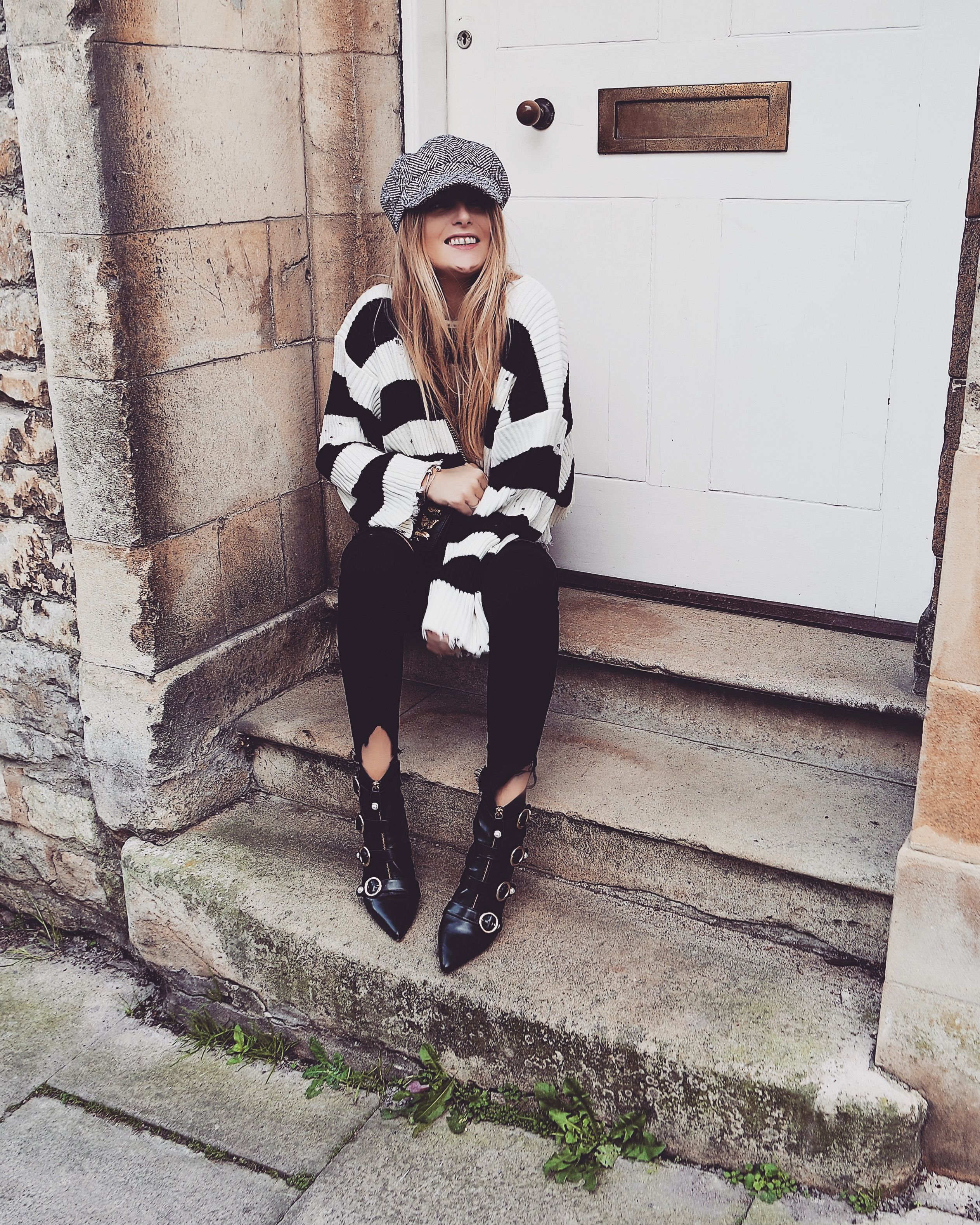 Baker Boy Hat - Black White Stripe Jumper