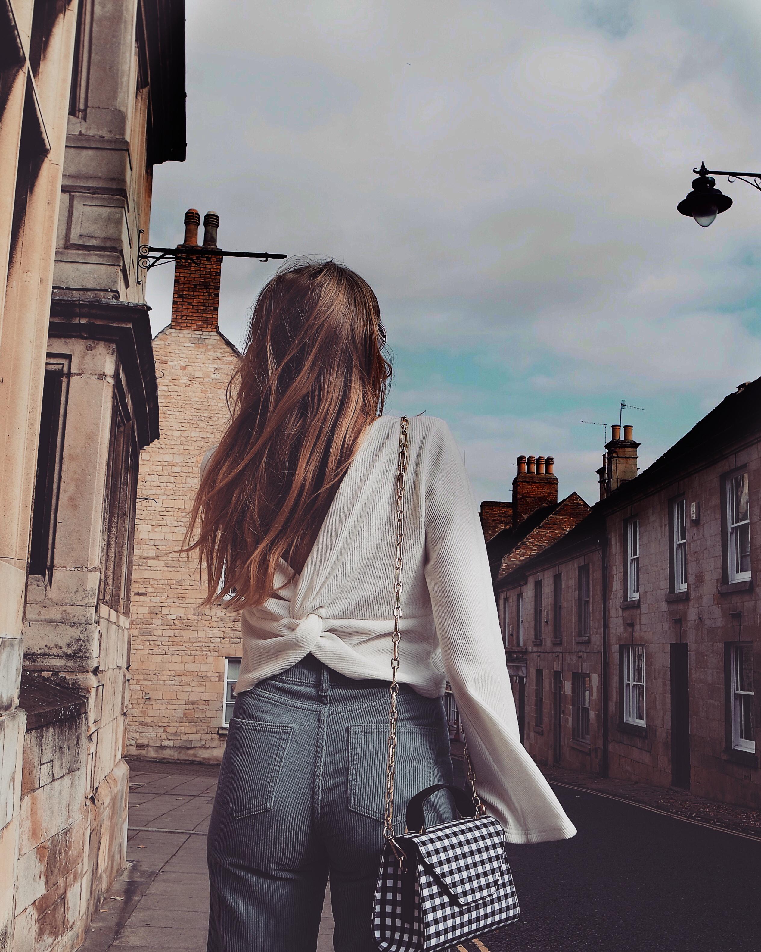 Corduroy Trousers - Gingham Handbag