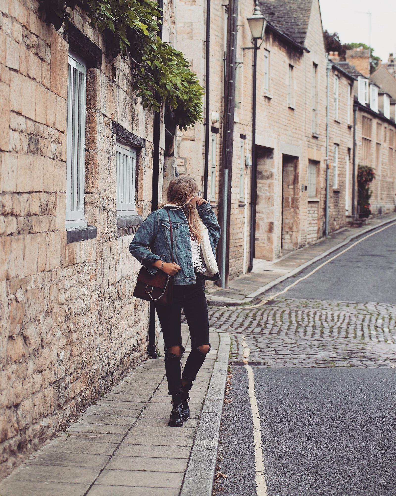 Denim Shearling Jacket - Street Style