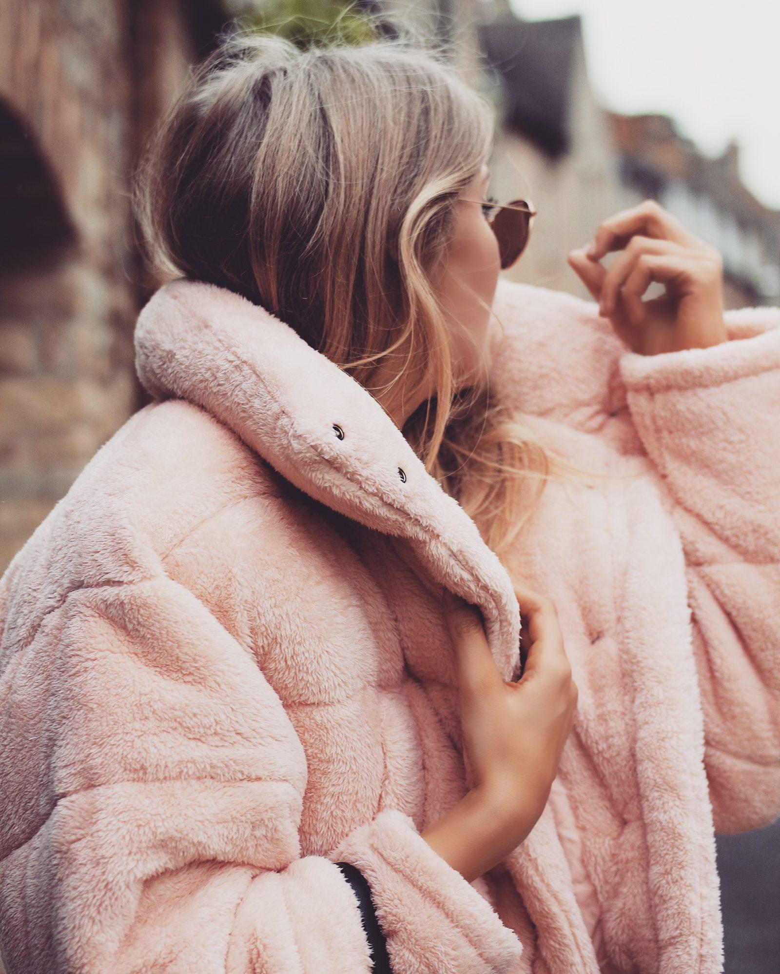 Pink Teddy Puffa Jacket