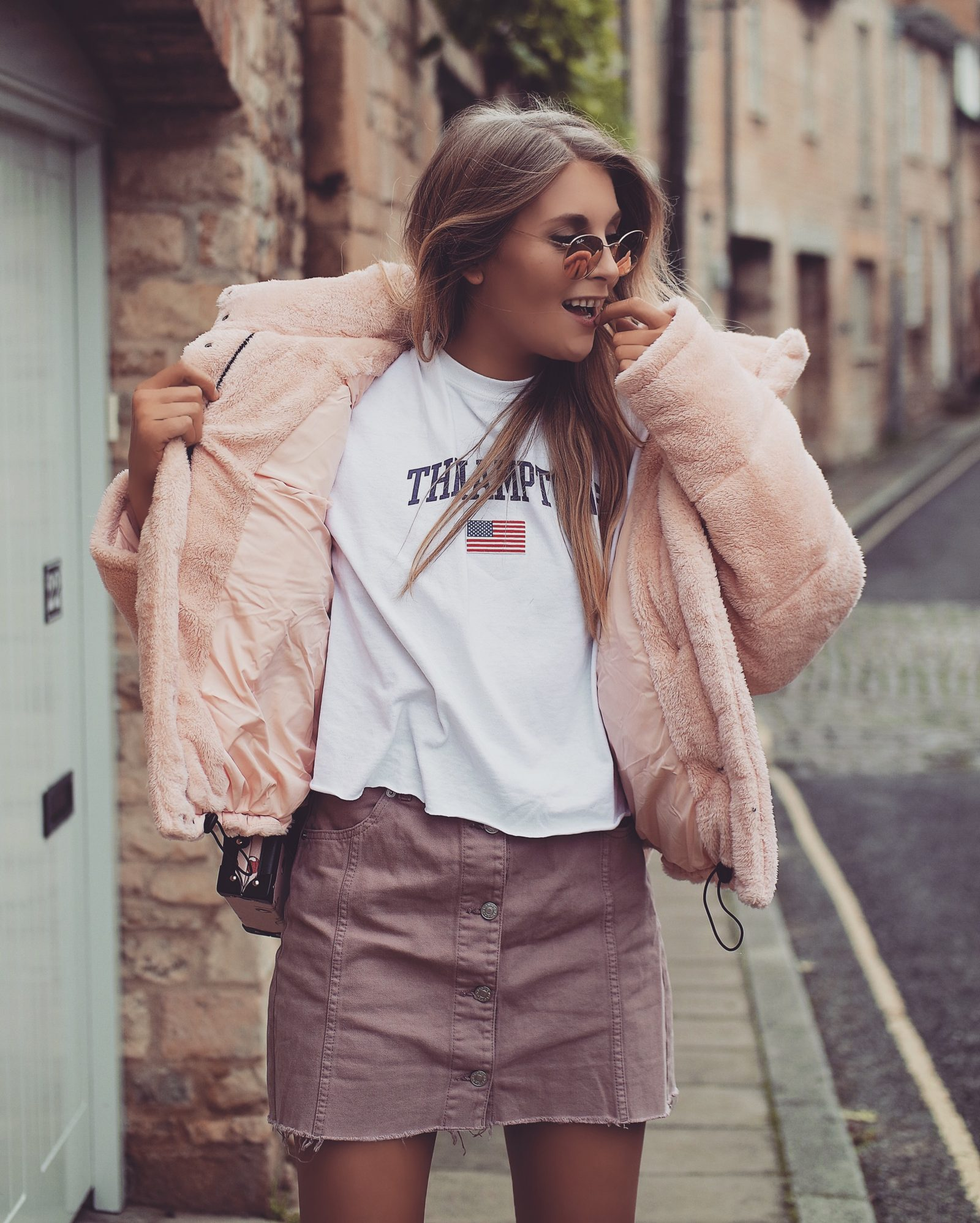 Teddy Puffa Jacket - Pink Outfit