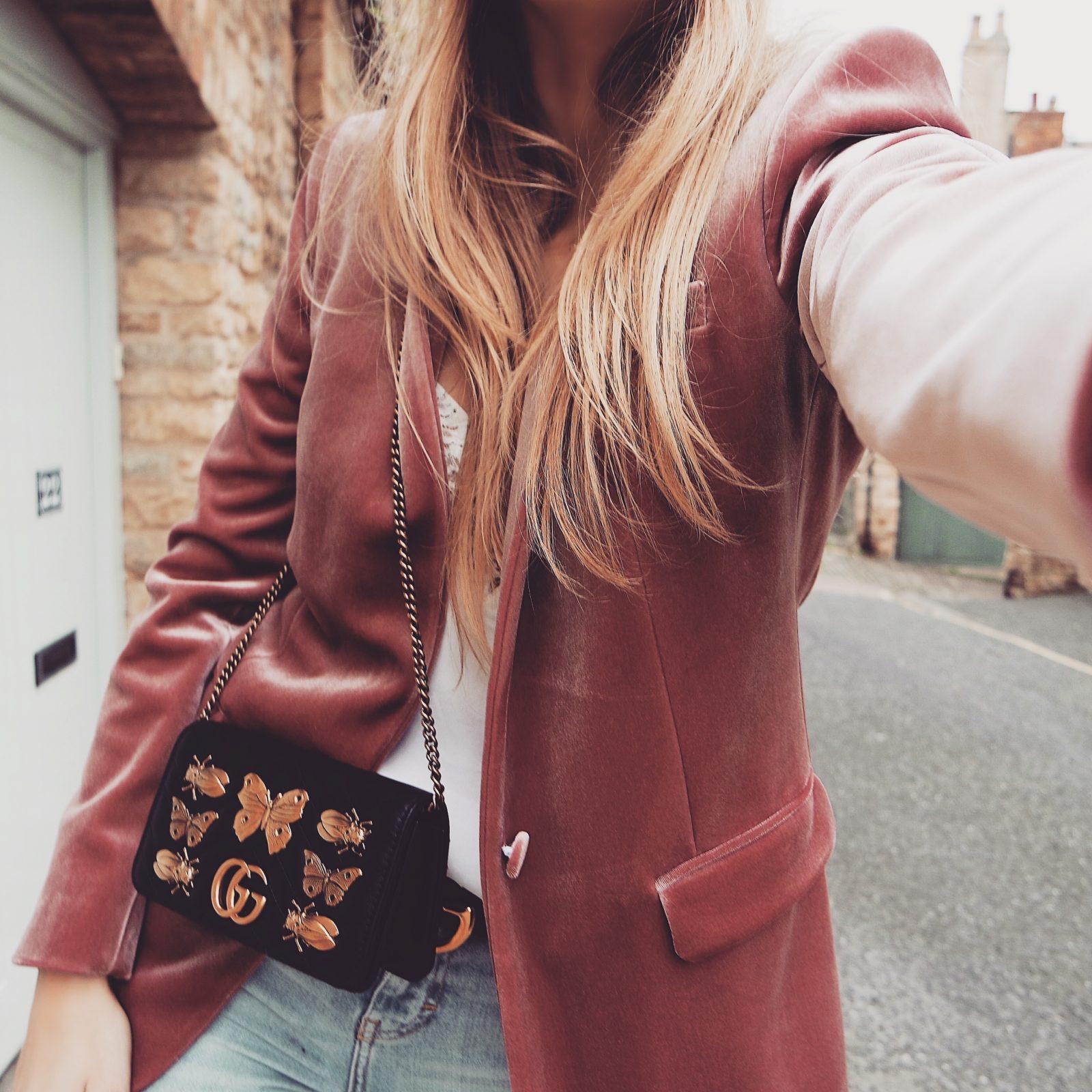 Pink Velvet Blazer - Gucci Marmont Bug Bag