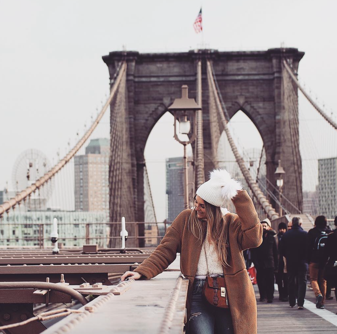 What To Wear In New York - Topshop Fluffy Hat - Brooklyn Bridge