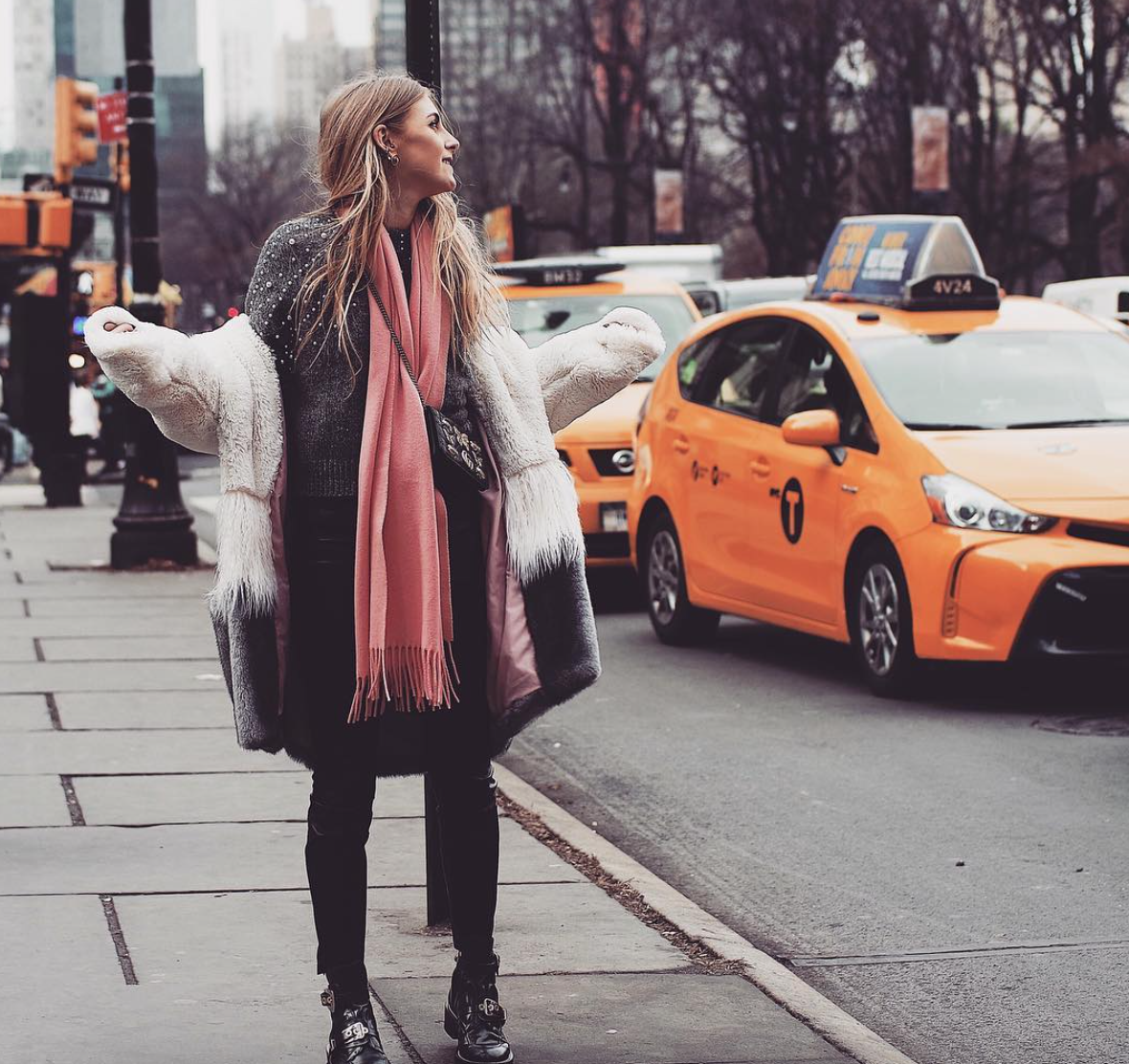 Pink Acne Scarf - New York