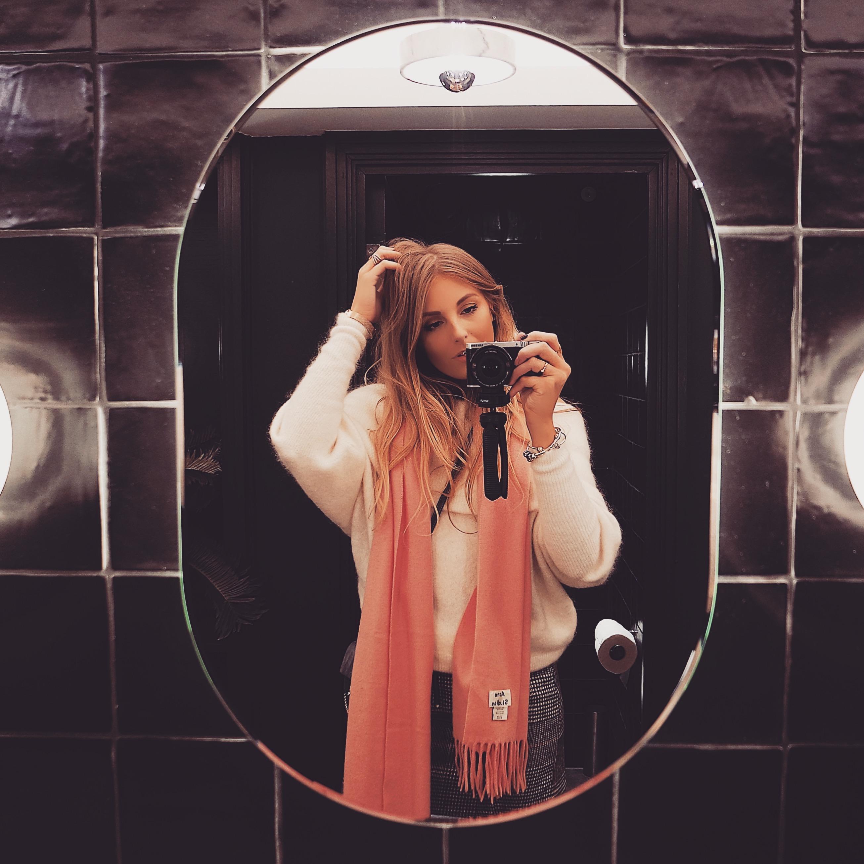 Pink Acne Scarf Selfie