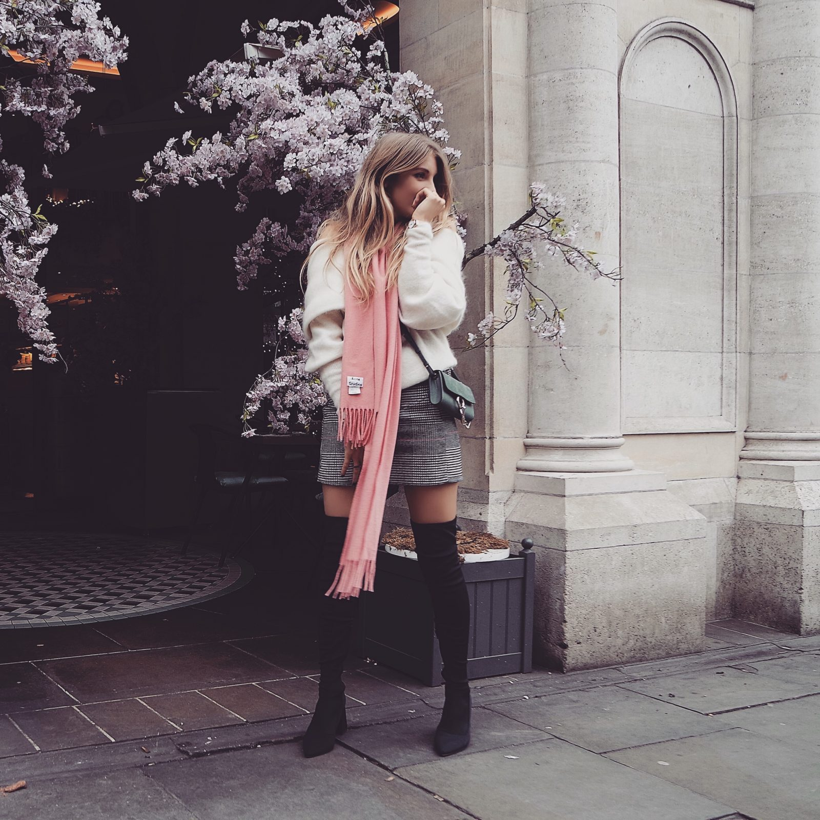 Pink Acne Scarf - Street Style