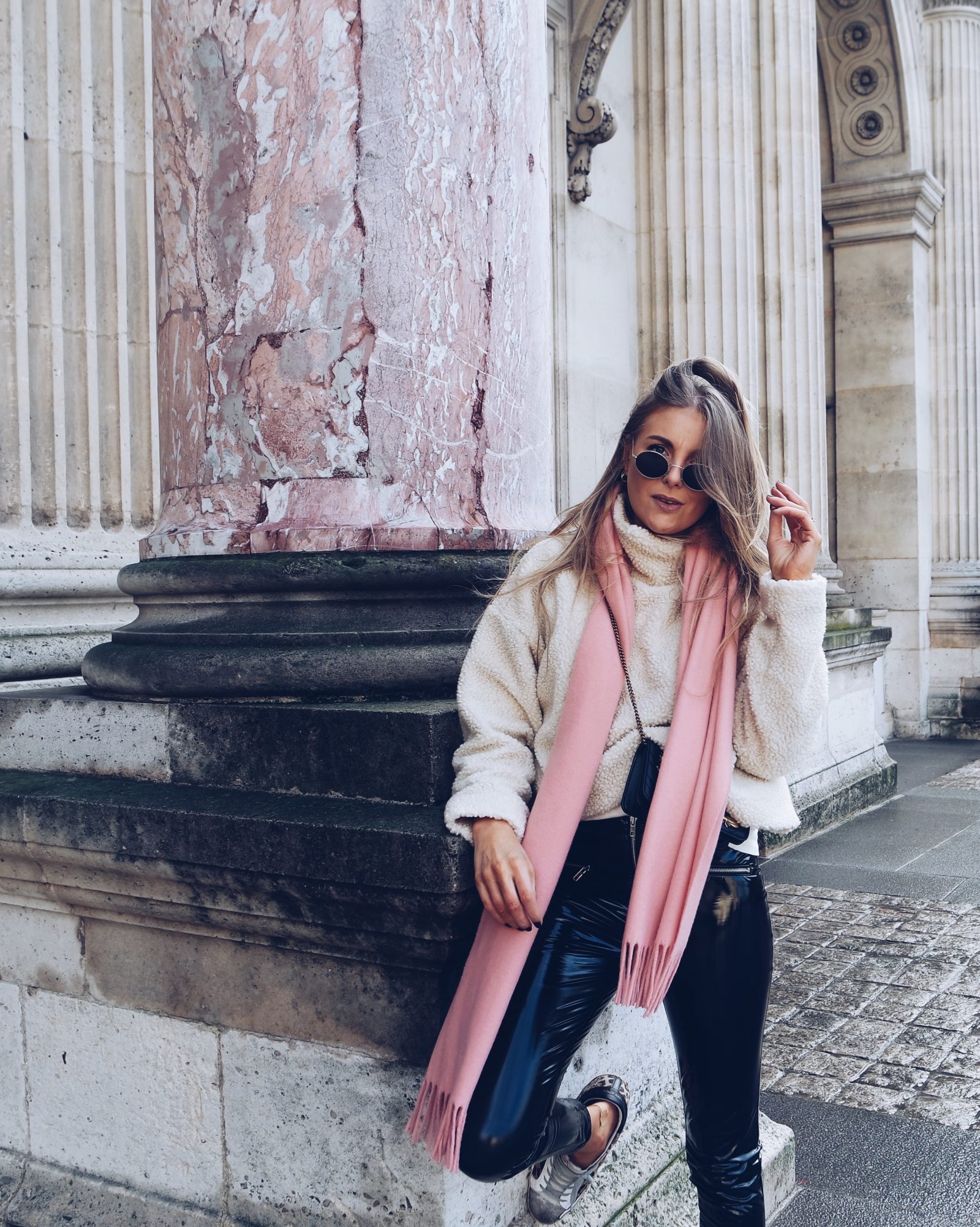 Vinyl Trousers - Pink Acne Scarf