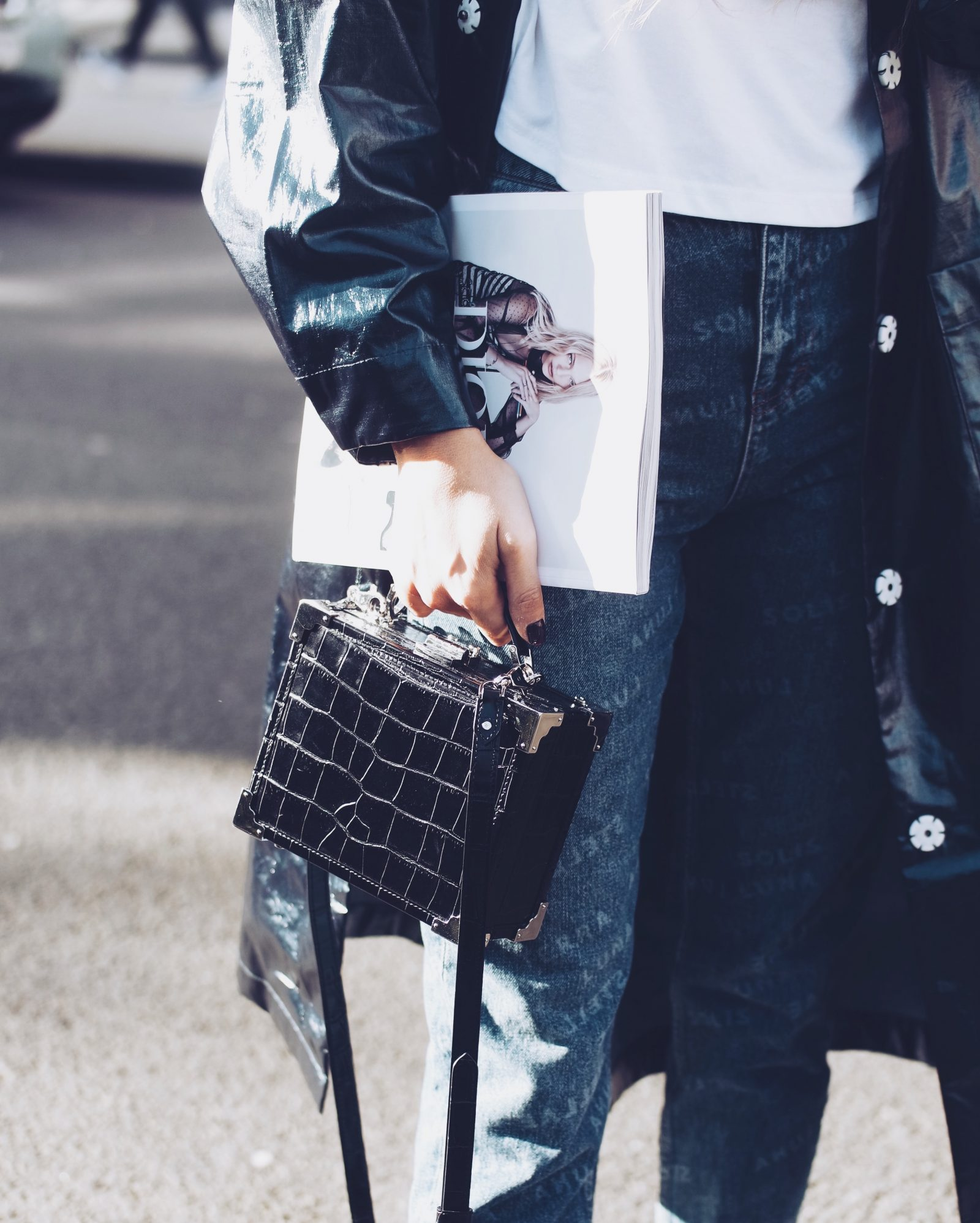 LFW Street Style - Aspinal Mini Trunk Bag