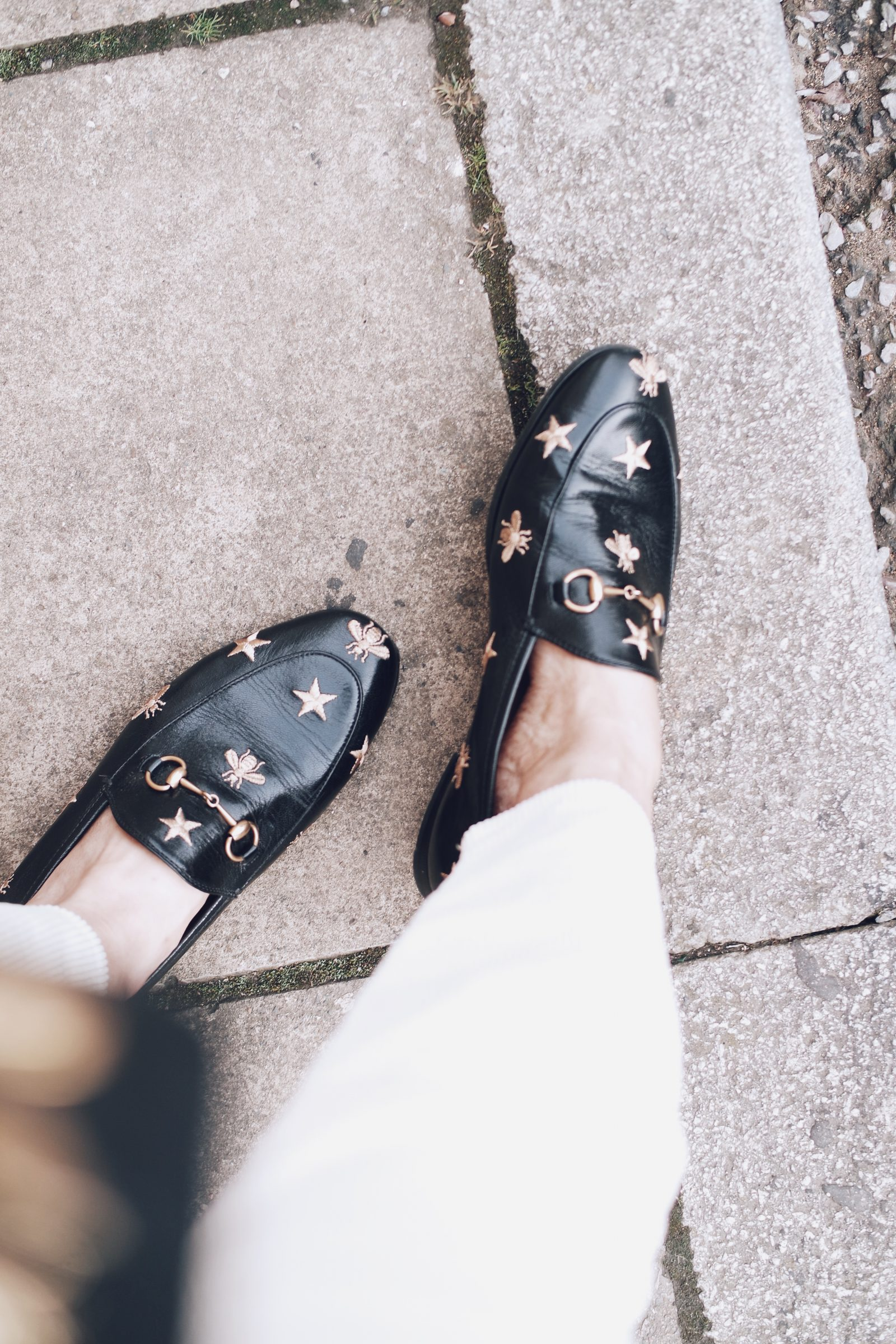 Black Embroidered Gucci Loafers