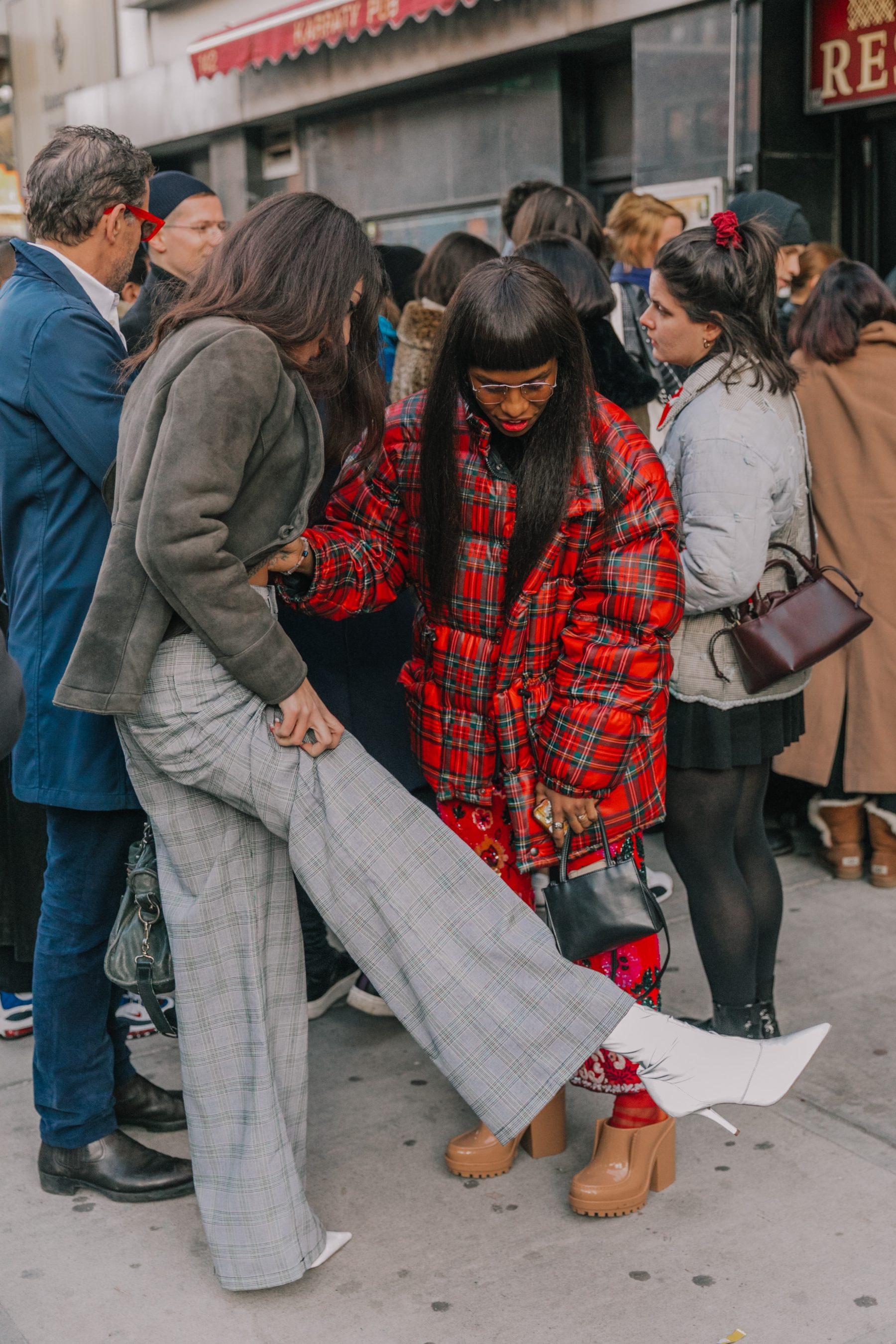 Fashion Week Looks Red Tartan Puffer Jacket -Collage Vintage Photography