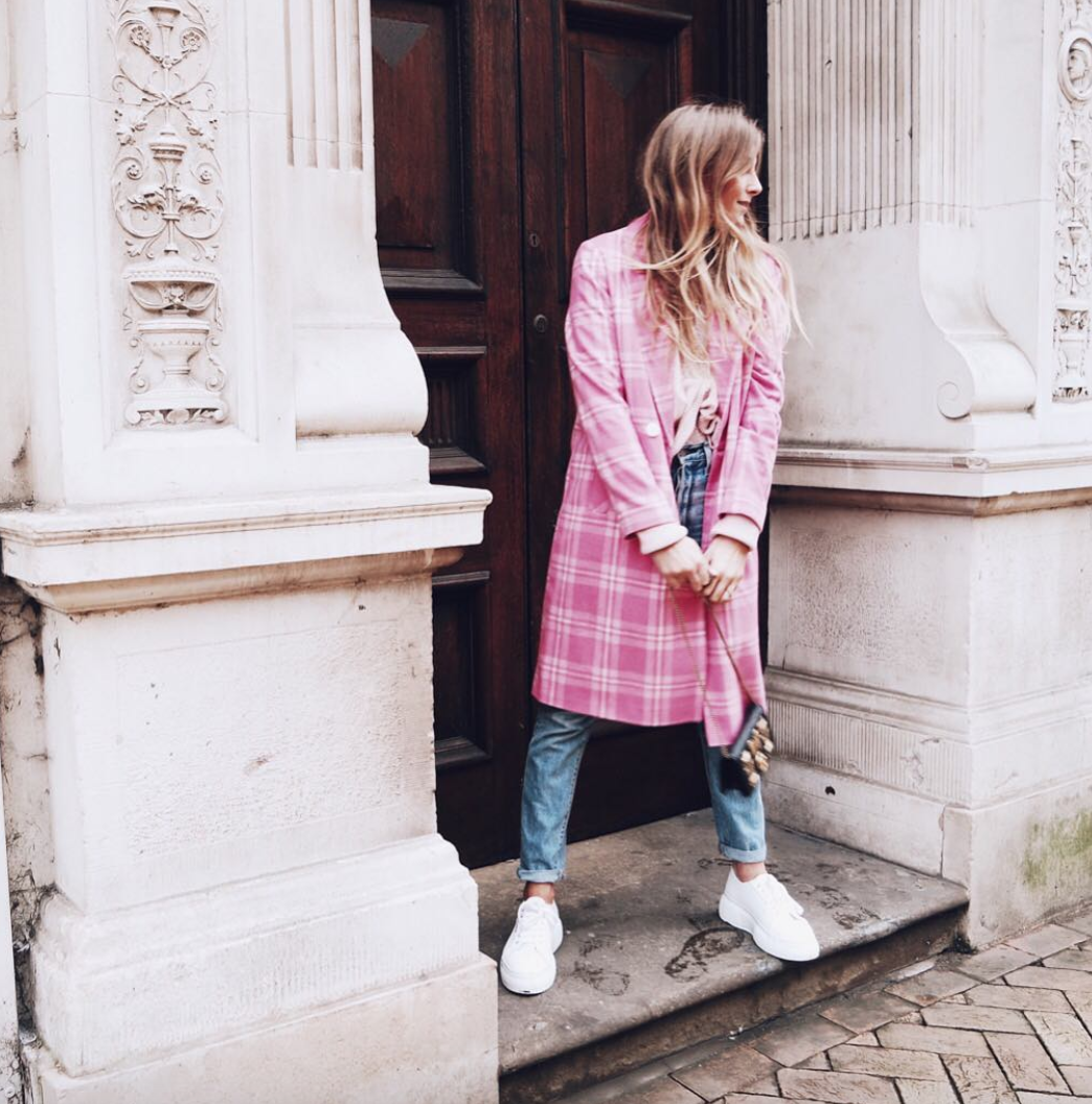Spring Trends - Pink Plaid Coat