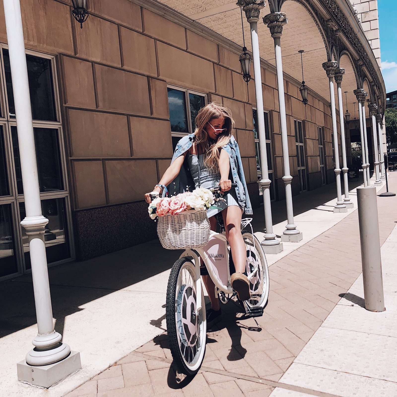 Fashion Blogger Riding Bike Wearing Topshop
