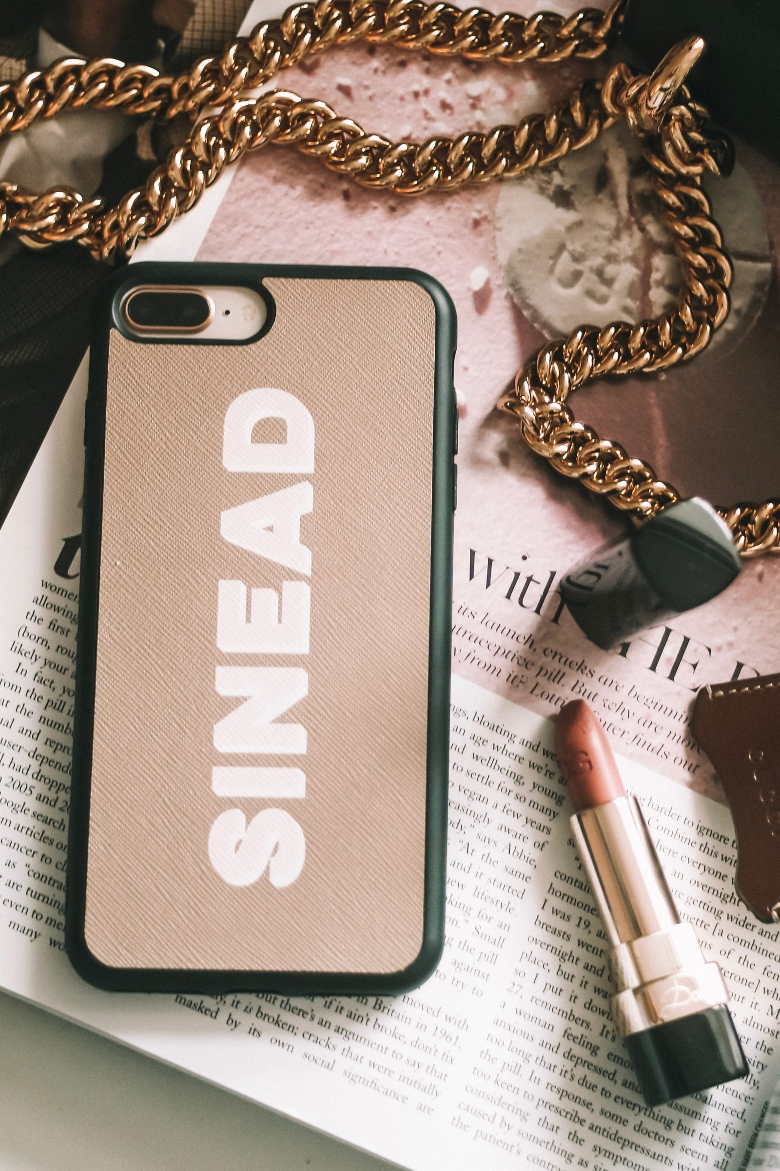 The Daily Edited Taupe Leather Phone Case with Painted Initials
