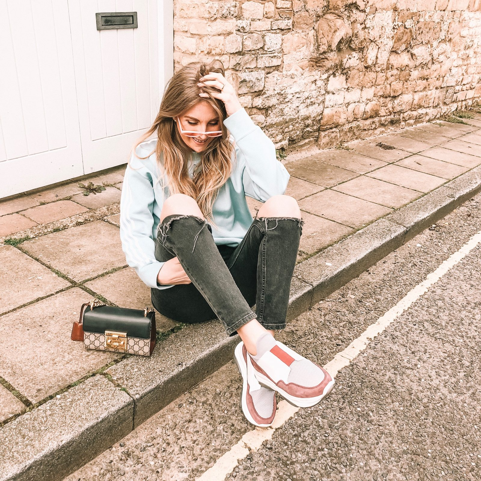 Blue Adidas Originals Sweatshirt with Forena Ugly Trainers