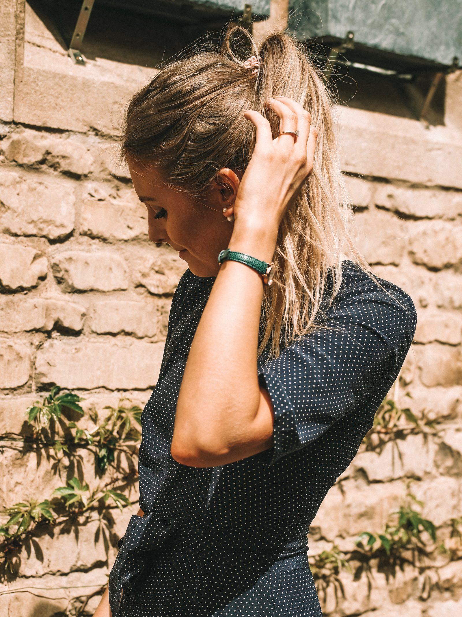 LK Bennett Polka Dot Silk Jumpsuit - Green Cluse Watch