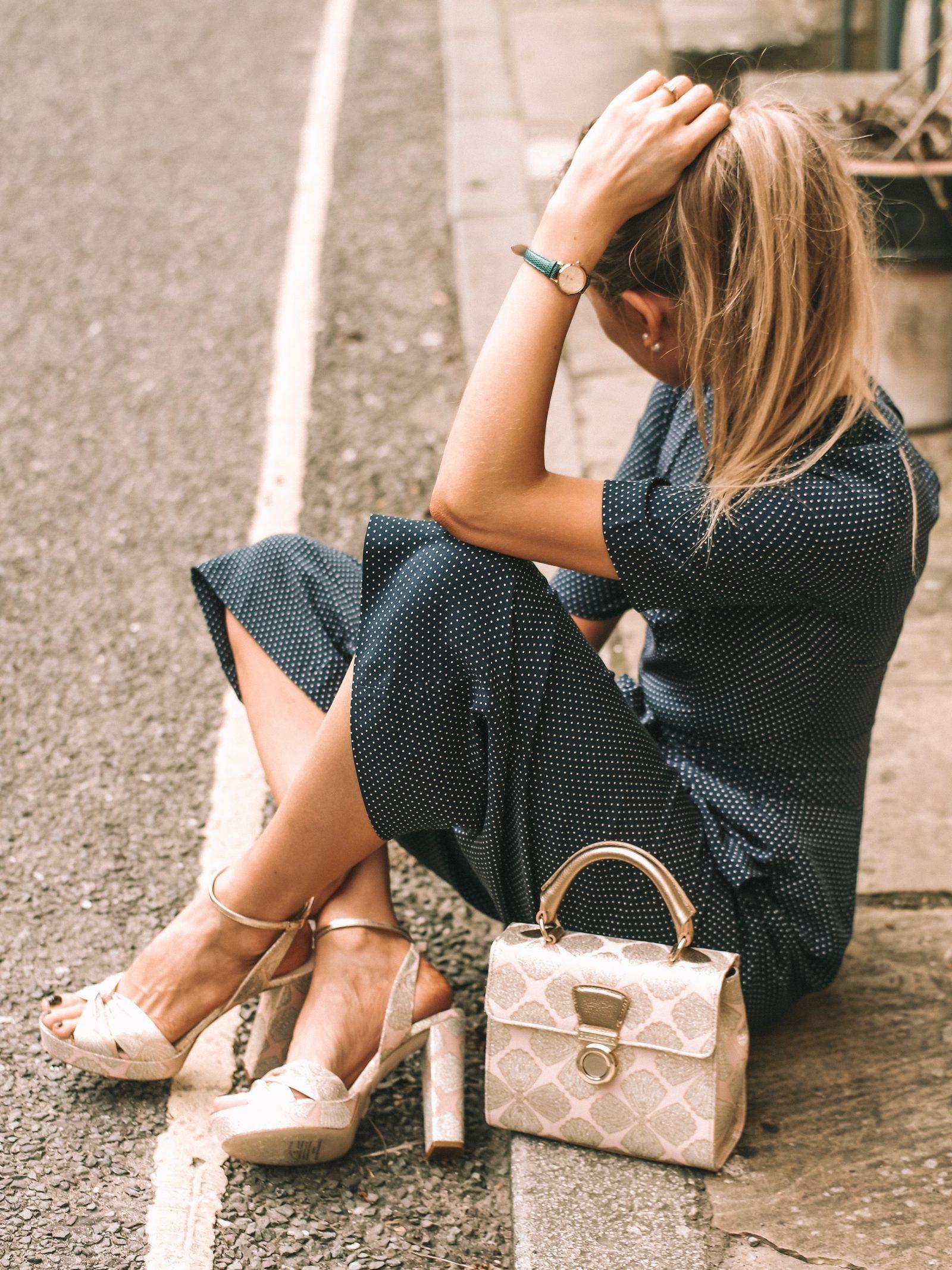 LK Bennett Polka Dot Silk Jumpsuit - Platform Summer Sandals