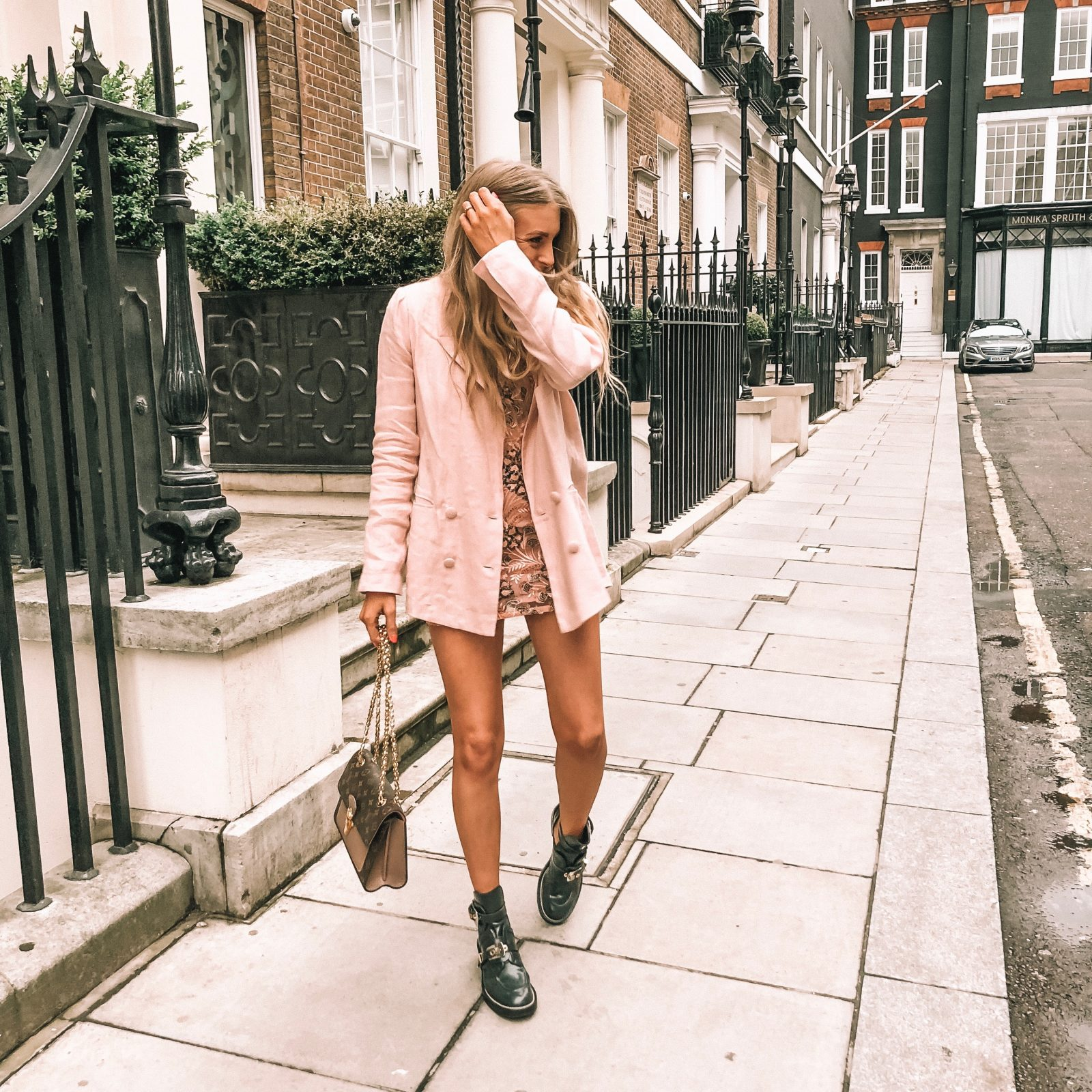 Revolve Takes London Lovers Friends Pink Linen Blazer