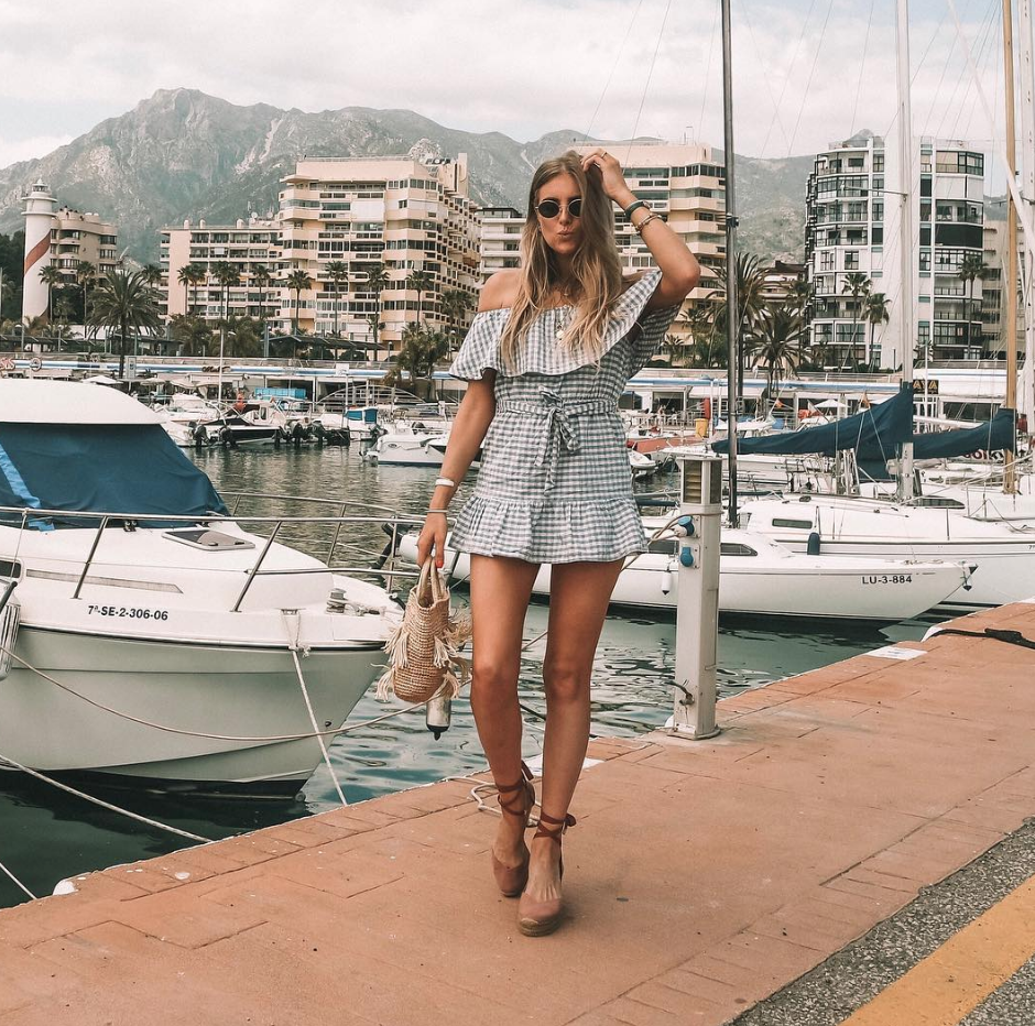 Summer Style Essentials - Blue Gingham Dress in Marbella Harbour